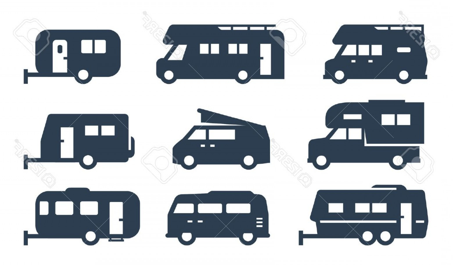 Vector Art RV Motorhomes: Photostock Vector Rv Cars Recreational Vehicles Camper Vans Icons