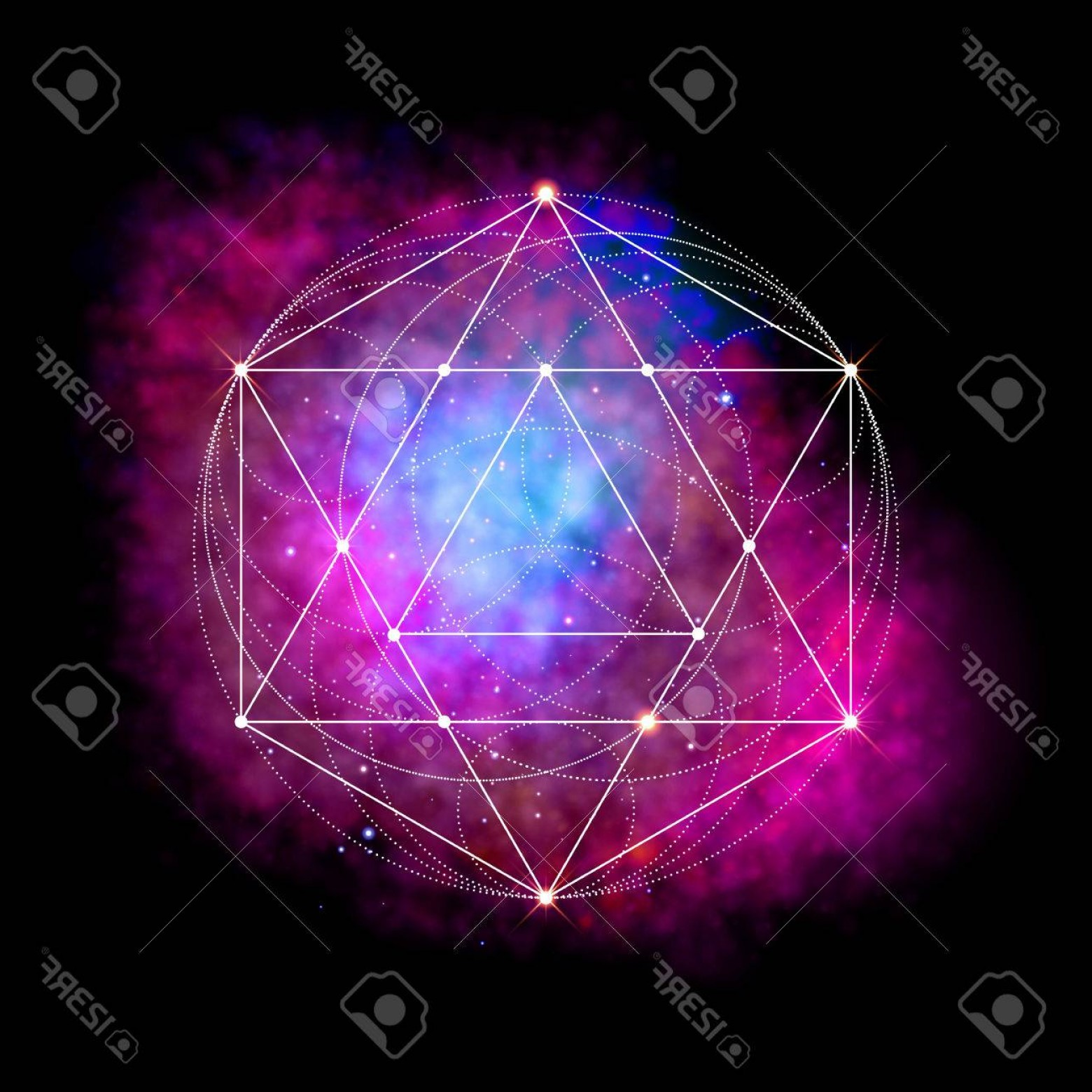 Cosmic Vector Imige: Photostock Vector Sacred Geometry Symbol Abstract Cosmic Vector Illustration Flower Of Life Metatrons Cube Neon Space