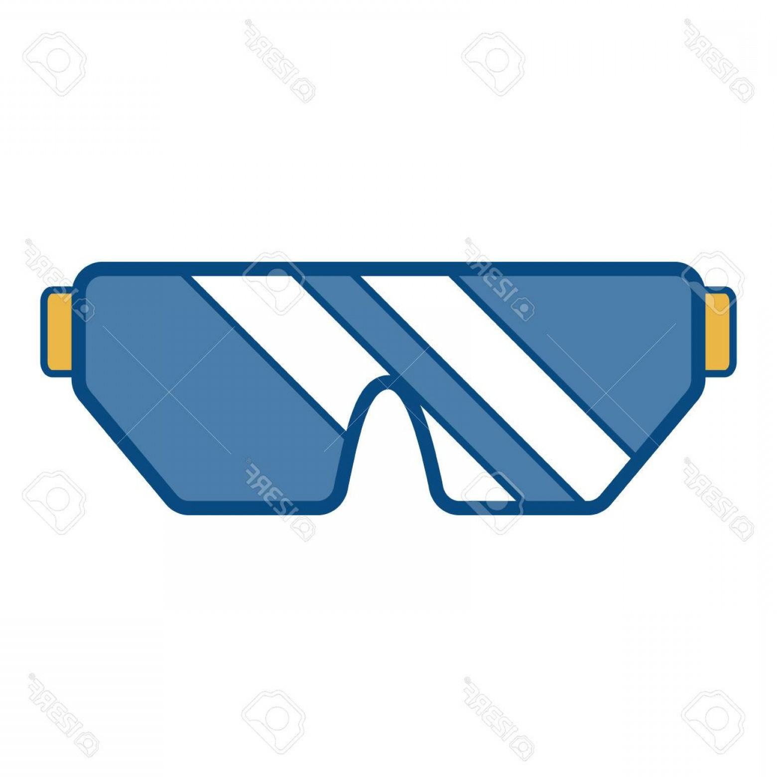 Construction Safety Goggles Vector: Photostock Vector Safety Goggles Icon Over White Illustration