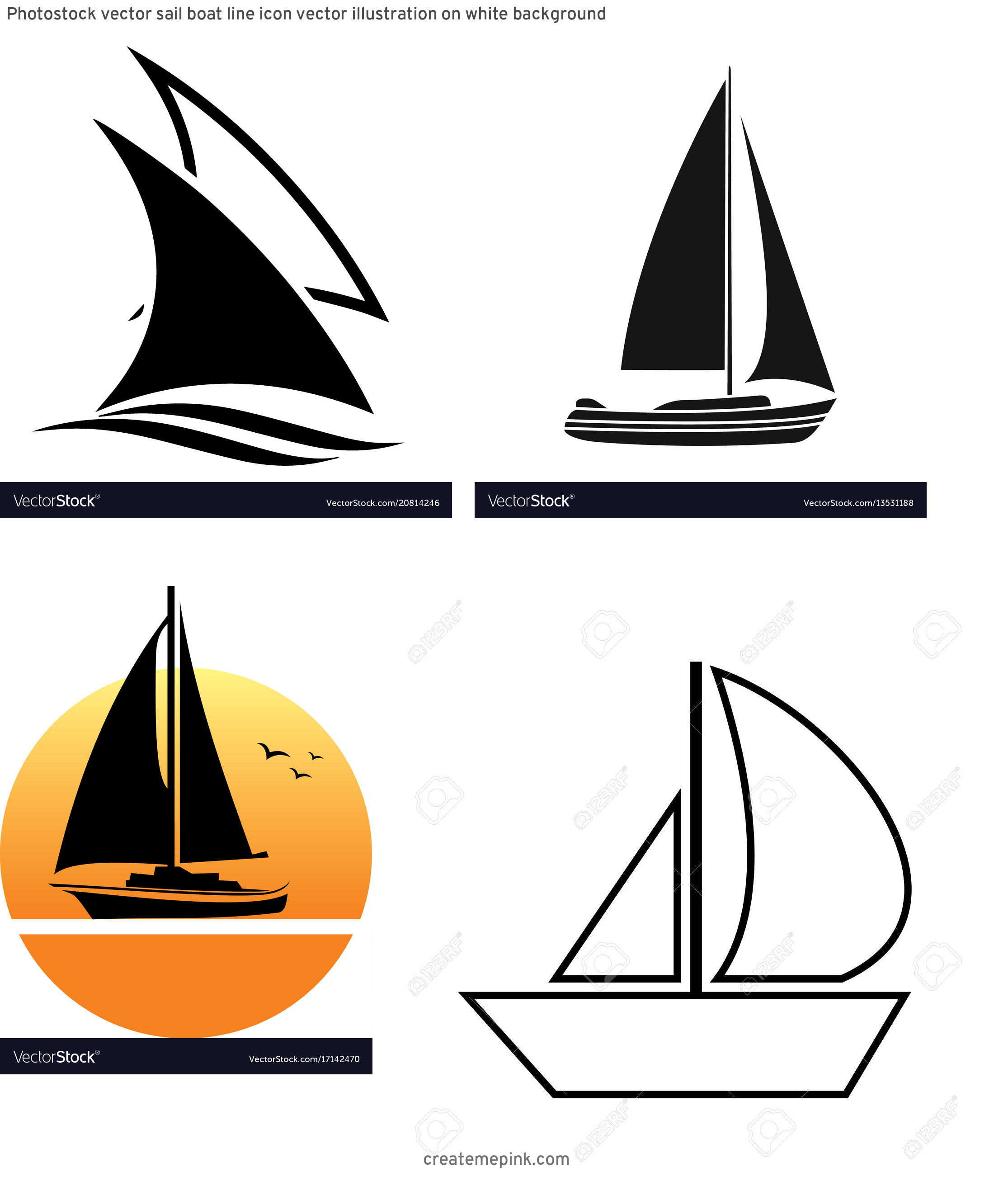 Sail Vector: Photostock Vector Sail Boat Line Icon Vector Illustration On White Background