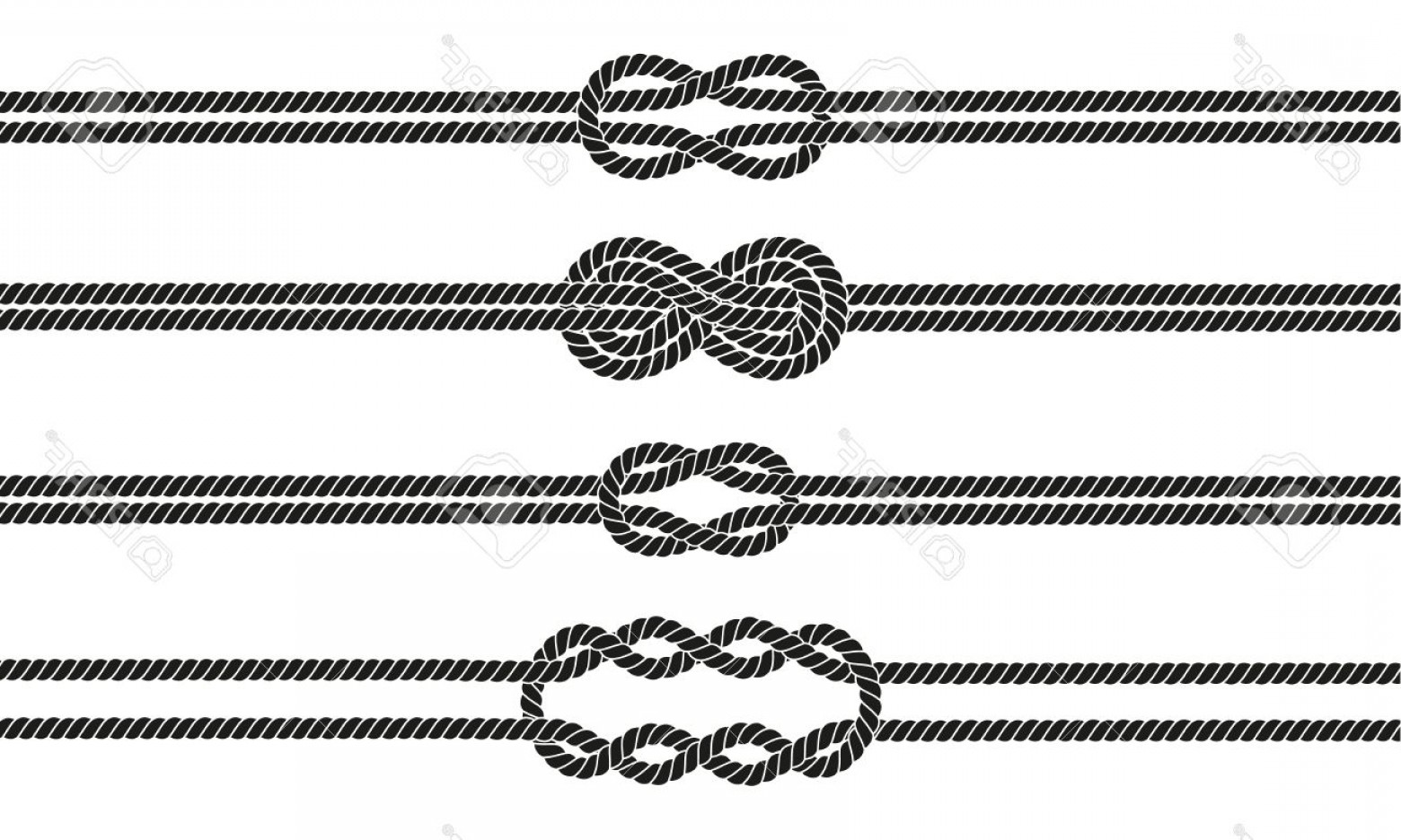 Design Vector Image Of Rope: Photostock Vector Sailor Knot Dividers Set Nautical Rope Infinity Sign Rope Border Tying The Knot Graphic Design Eleme