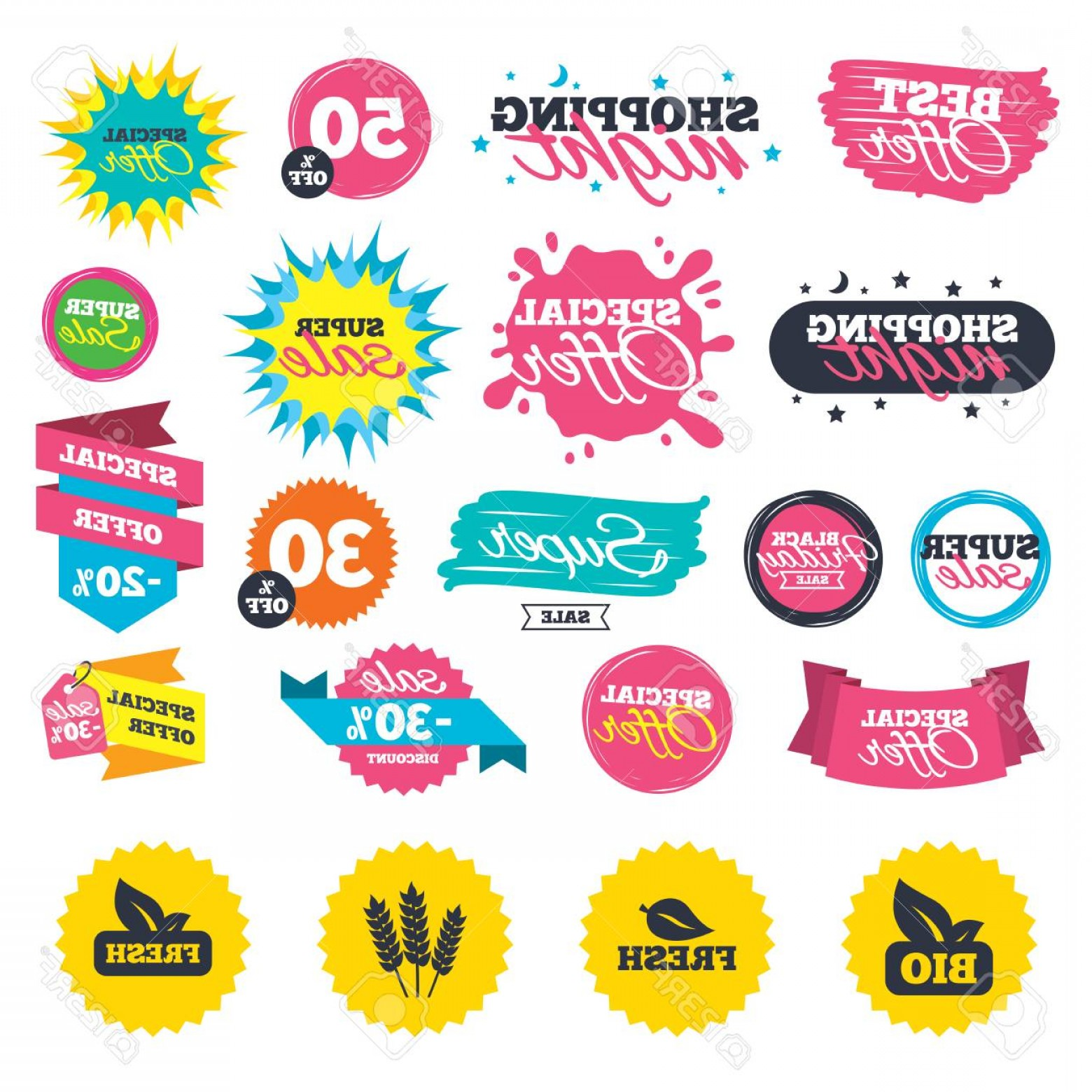 Food Vectors 50 S: Photostock Vector Sale Shopping Banners Natural Fresh Bio Food Icons Gluten Free Agricultural Sign Symbol Web Badges S