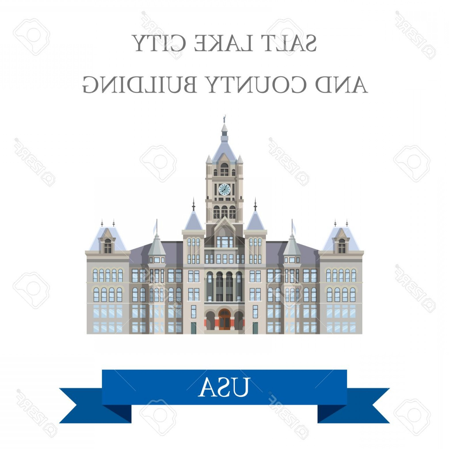 Salt Lake City Temple Vector: Photostock Vector Salt Lake City And County Building Utah United States Flat Cartoon Style Historic Sight Showplace At