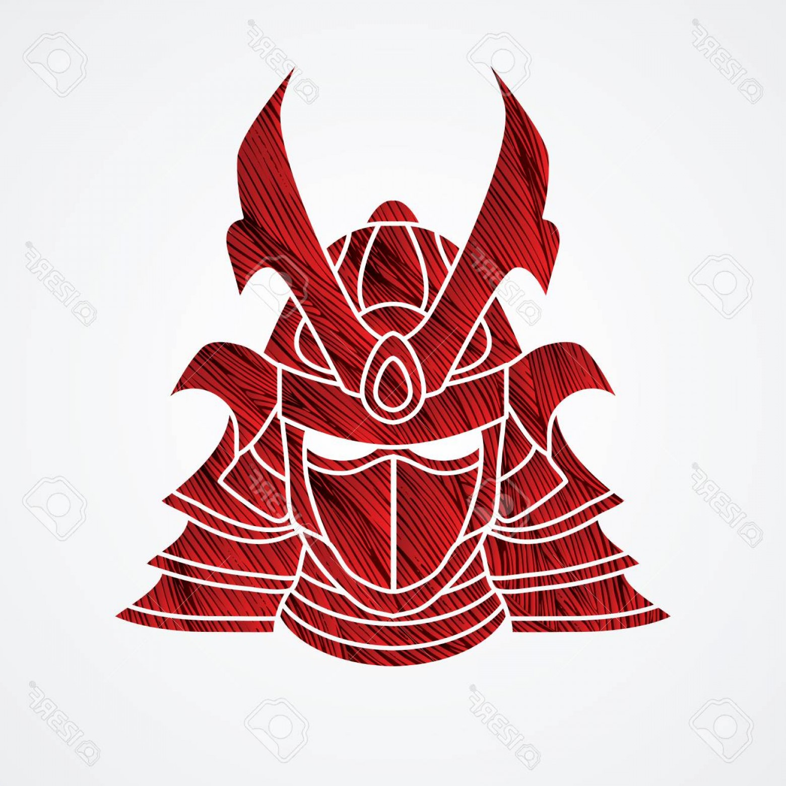 Red Samurai Vector: Photostock Vector Samurai Mask Designed Using Red Grunge Brush Graphic Vector