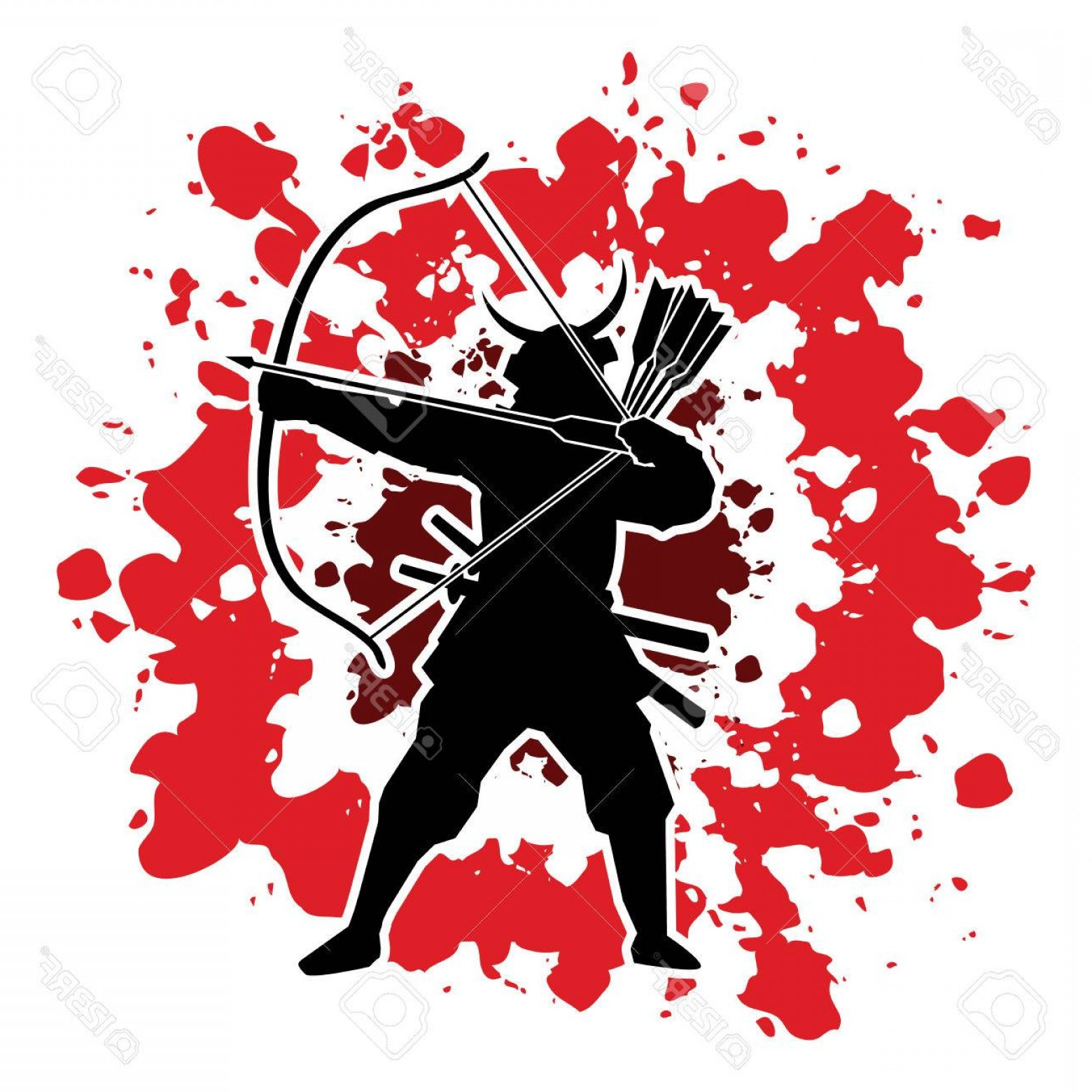 Samurai Warrior Vector: Photostock Vector Samurai Warrior With Bow Designed On Splatter Blood Background Graphic Vector