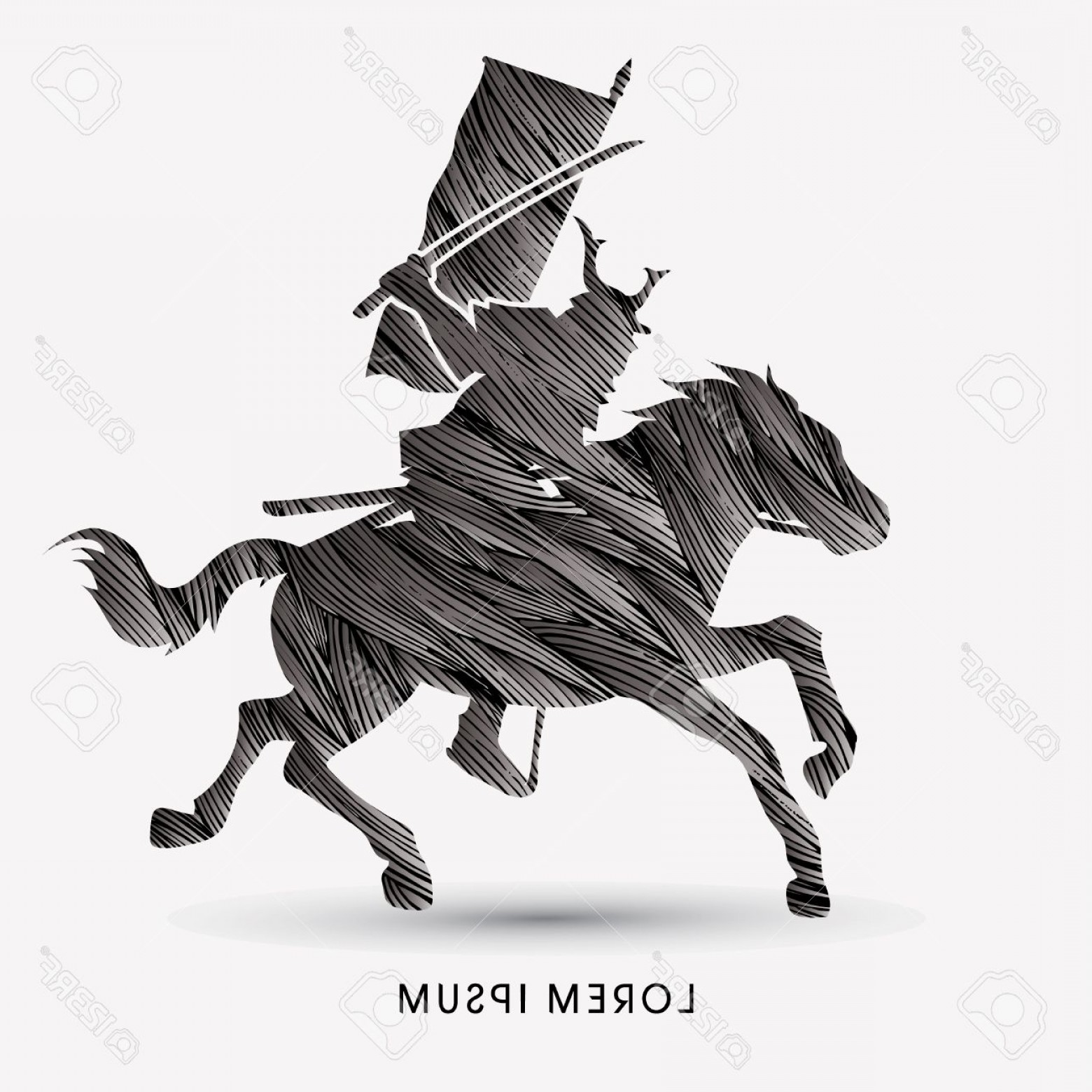 Samurai Warrior Vector: Photostock Vector Samurai Warrior With Sword Katana Riding Horse Designed Using Black Grunge Brush Graphic Vector