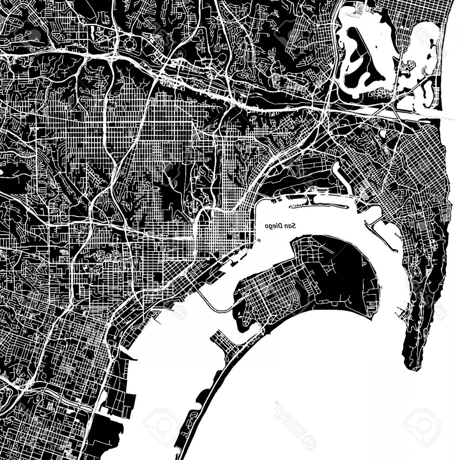 California Black And White Vector: Photostock Vector San Diego California Downtown Vector Map City Name On A Separate Layer Art Print Template Black And