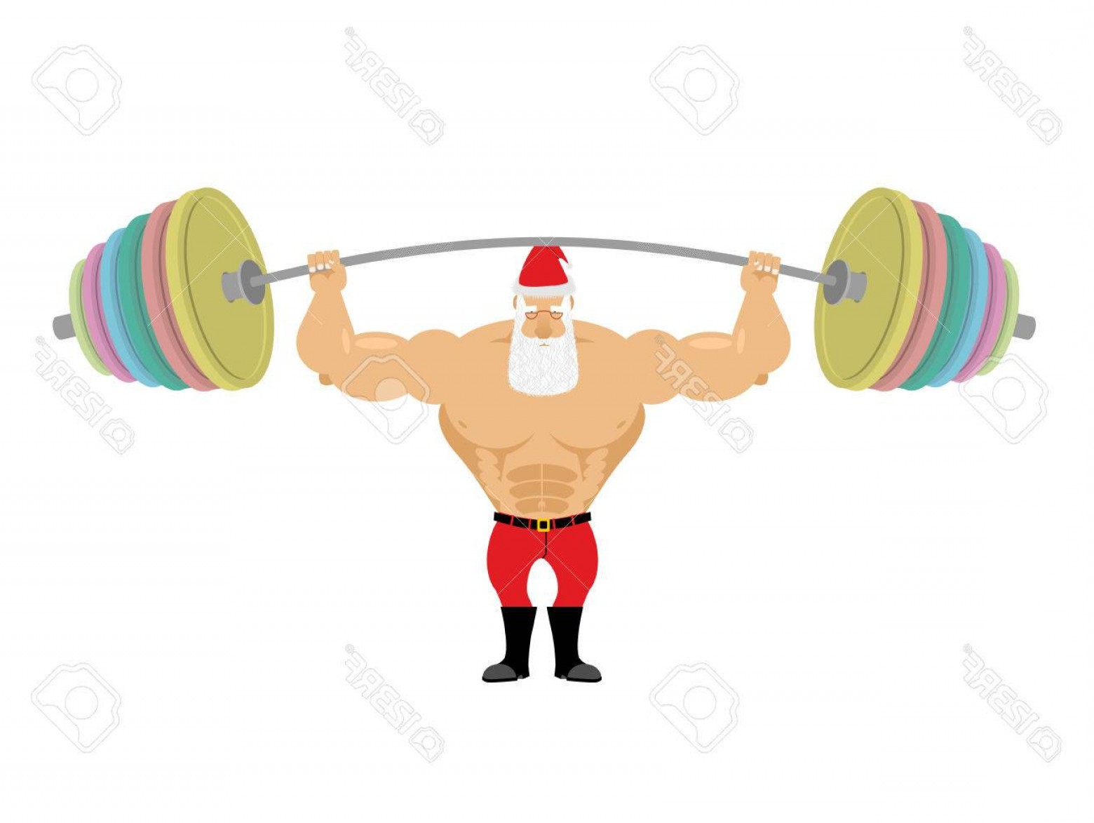 Vector Barbell Press: Photostock Vector Santa Claus And Barbell Bench Press Barbell Above His Head Exercises For Shoulders Strong Powerful O