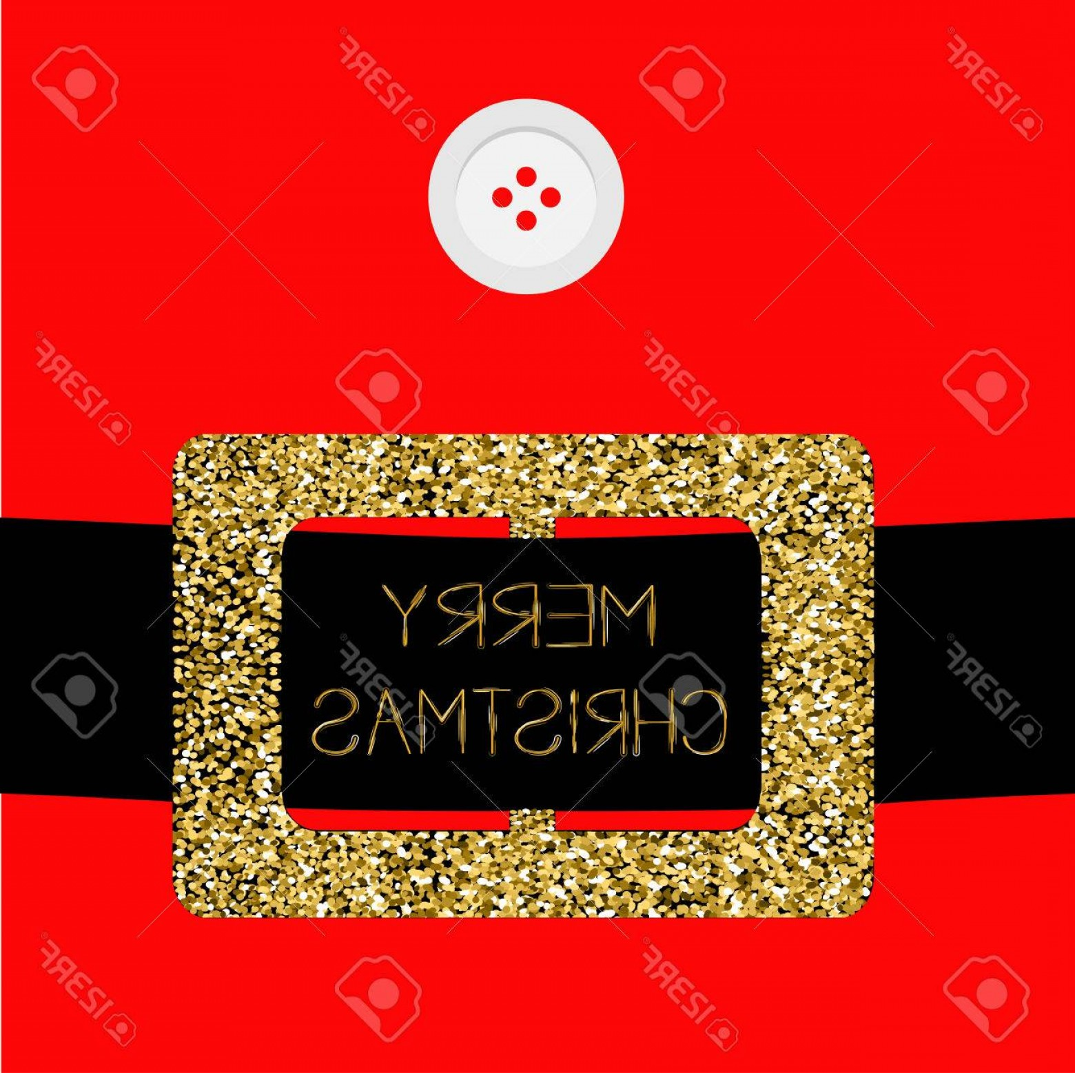 Vector Santa Belt: Photostock Vector Santa Claus Coat With Button And Gold Glitter Belt Merry Christmas Greeting Card Flat Design Red Bac