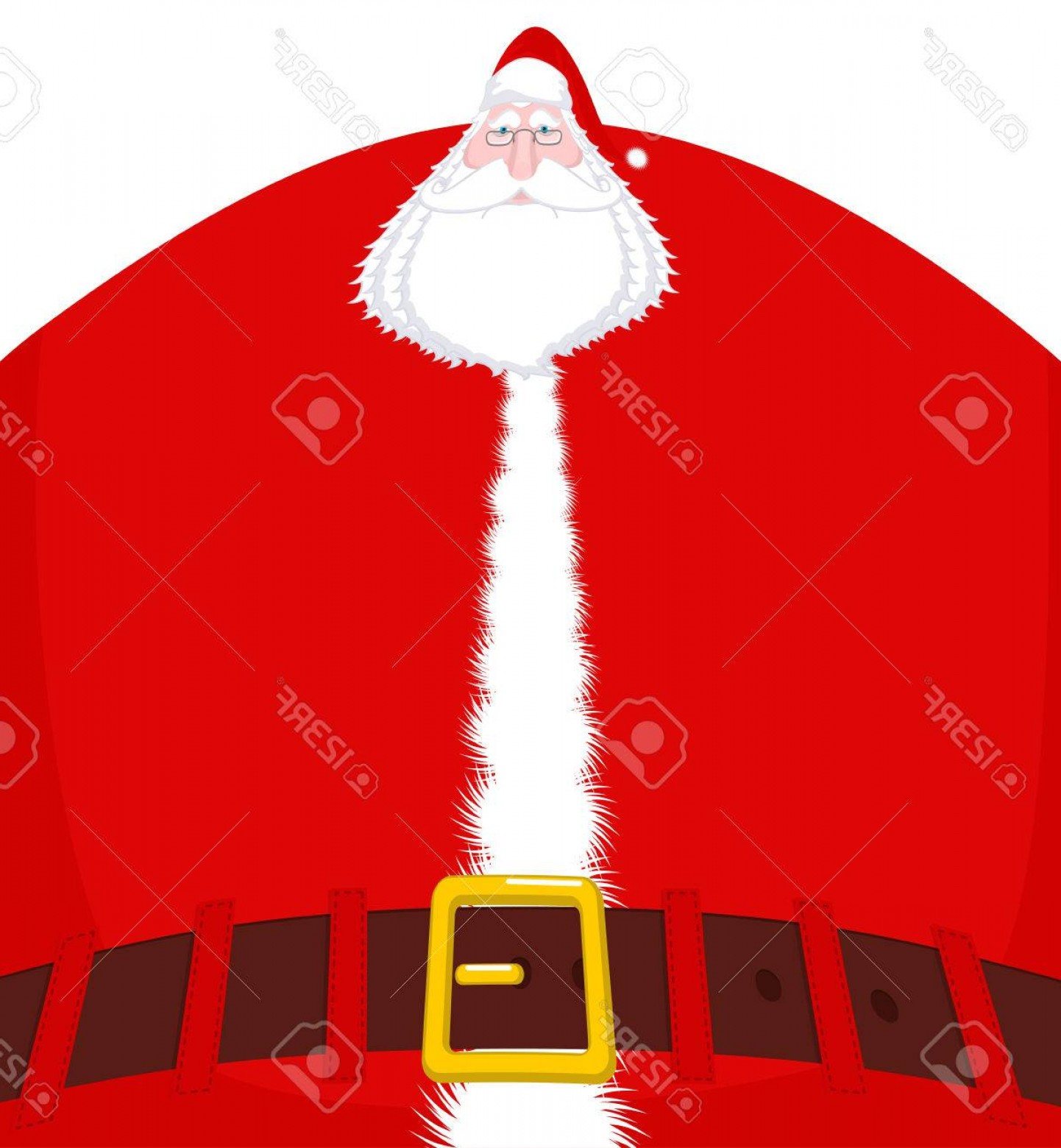Vector Santa Belt: Photostock Vector Santa Claus Large And Belt Huge Christmas Grandfather Enormous Santa With Beard In Red Suit Illustra