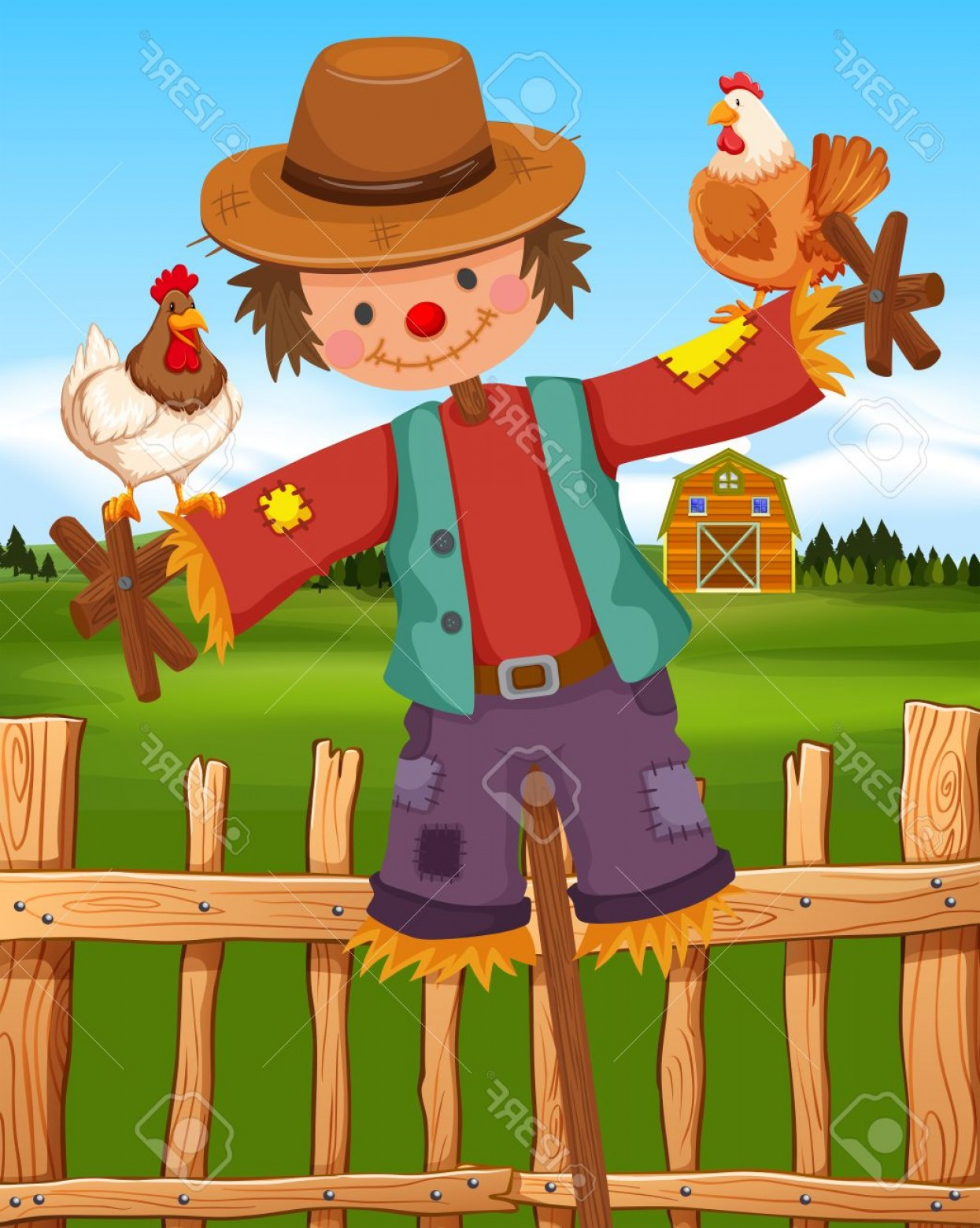 Scarecrow Vector Art: Photostock Vector Scarecrow And Chickens On The Farm Illustration
