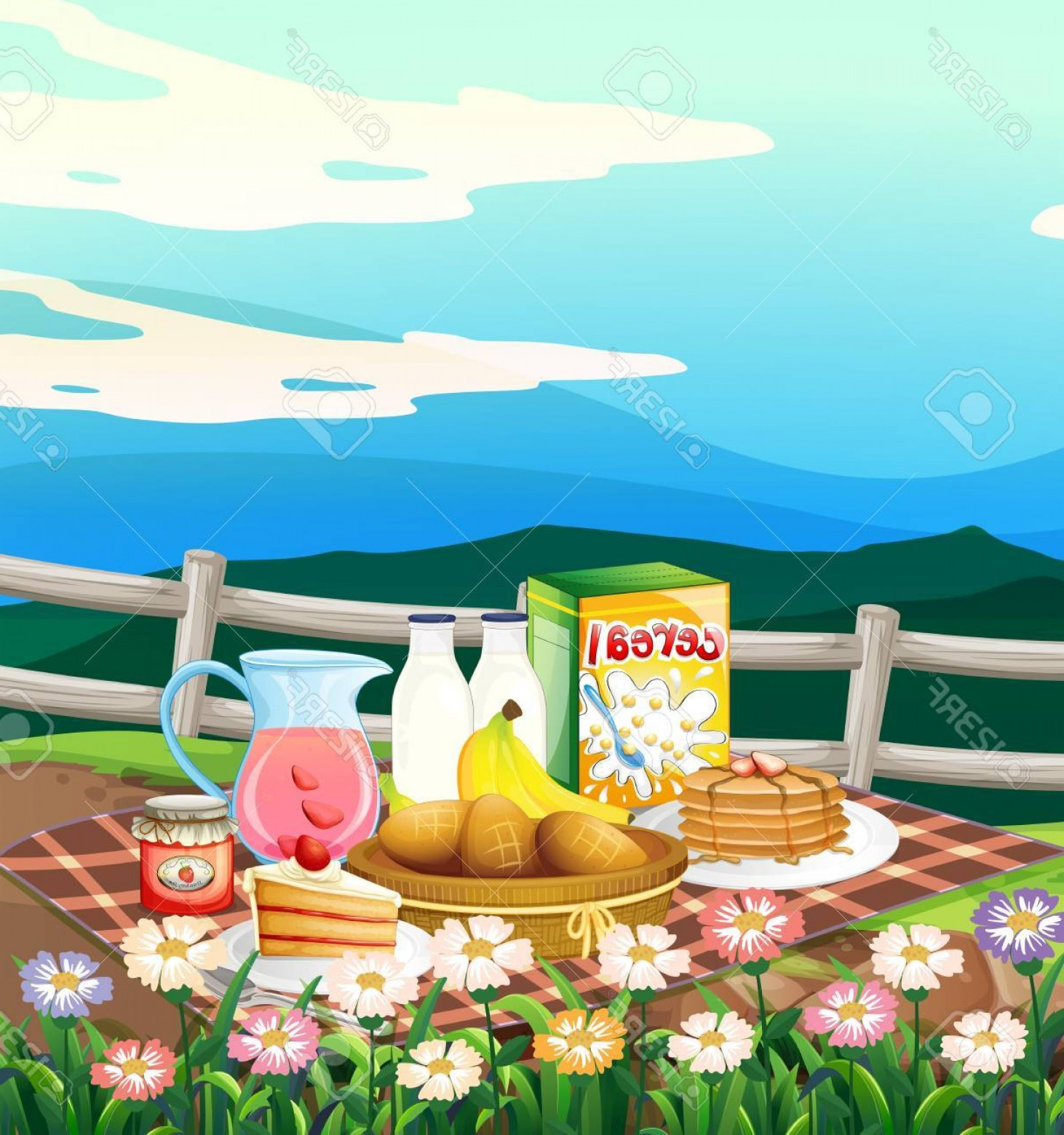 Picnic Vector Scenery: Photostock Vector Scene With Breakfast Set On Picnic Cloth Illustration