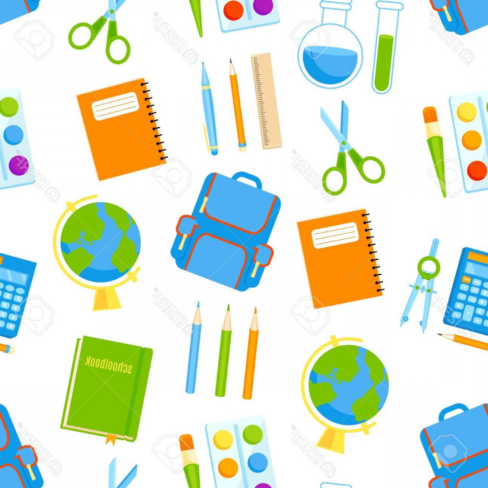 Supplies Vector Graphic: Photostock Vector School Supplies Vector Seamless Pattern Back To School Background