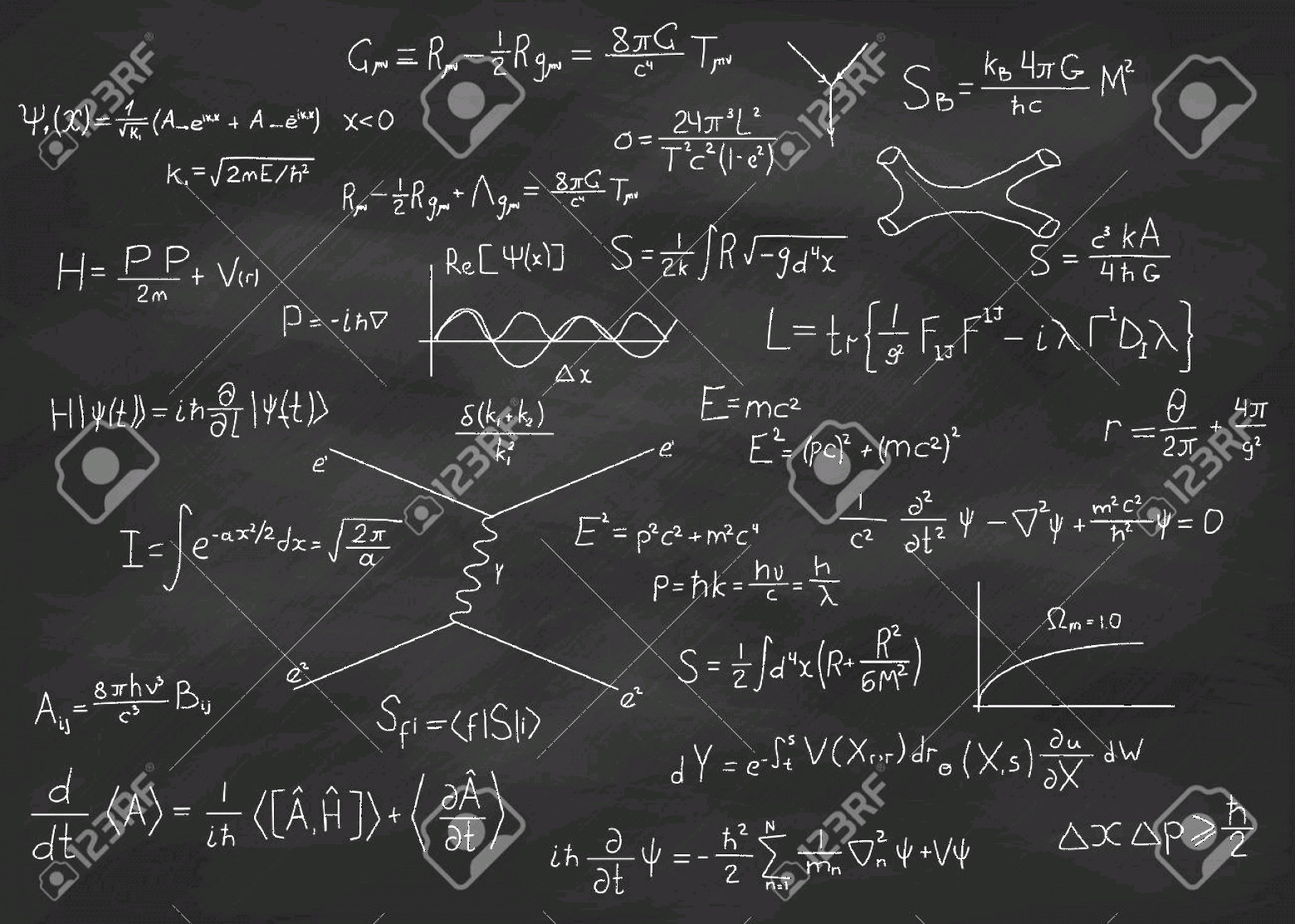 Vector Equation Physical Science: Photostock Vector Science Blackboard With Math Real Physical Equations Of Einstein Relativity Theory String Theory And