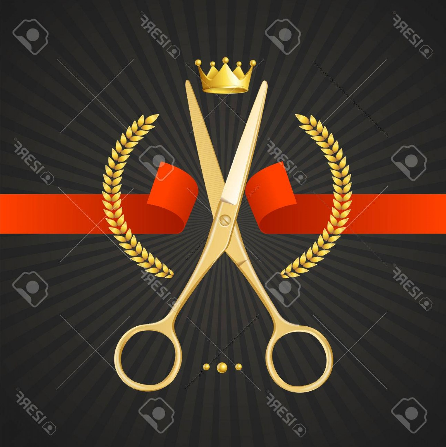 Golden Barber Vector: Photostock Vector Scissors Barber Concept Golden Scissors Cut The Red Ribbon The Symbol Of The Winner On A Black Backg