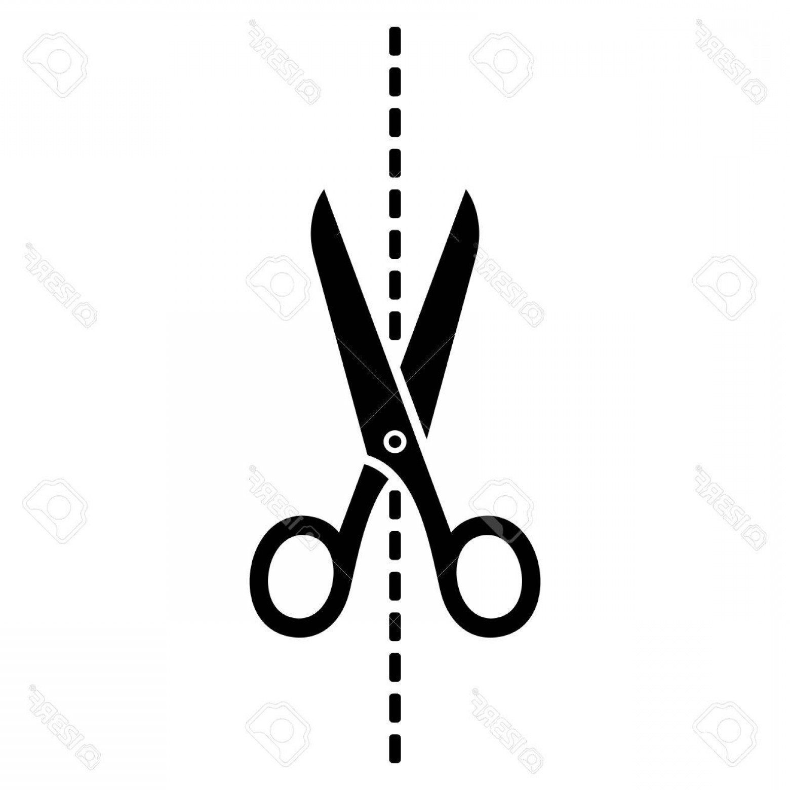 Cut Symbol Vector: Photostock Vector Scissors Icon With Cut Line On White Background Vector Illustration