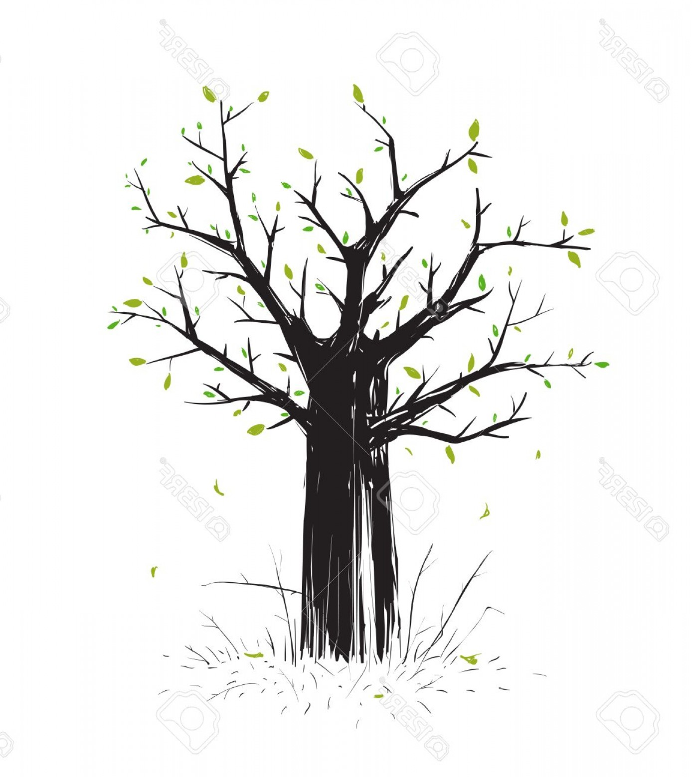 Scratch Y Drawing Vector: Photostock Vector Scratchy Scribble Tree In Black Silhouette Sketchy Freehand Tree Drawing Vector Eps Illustration