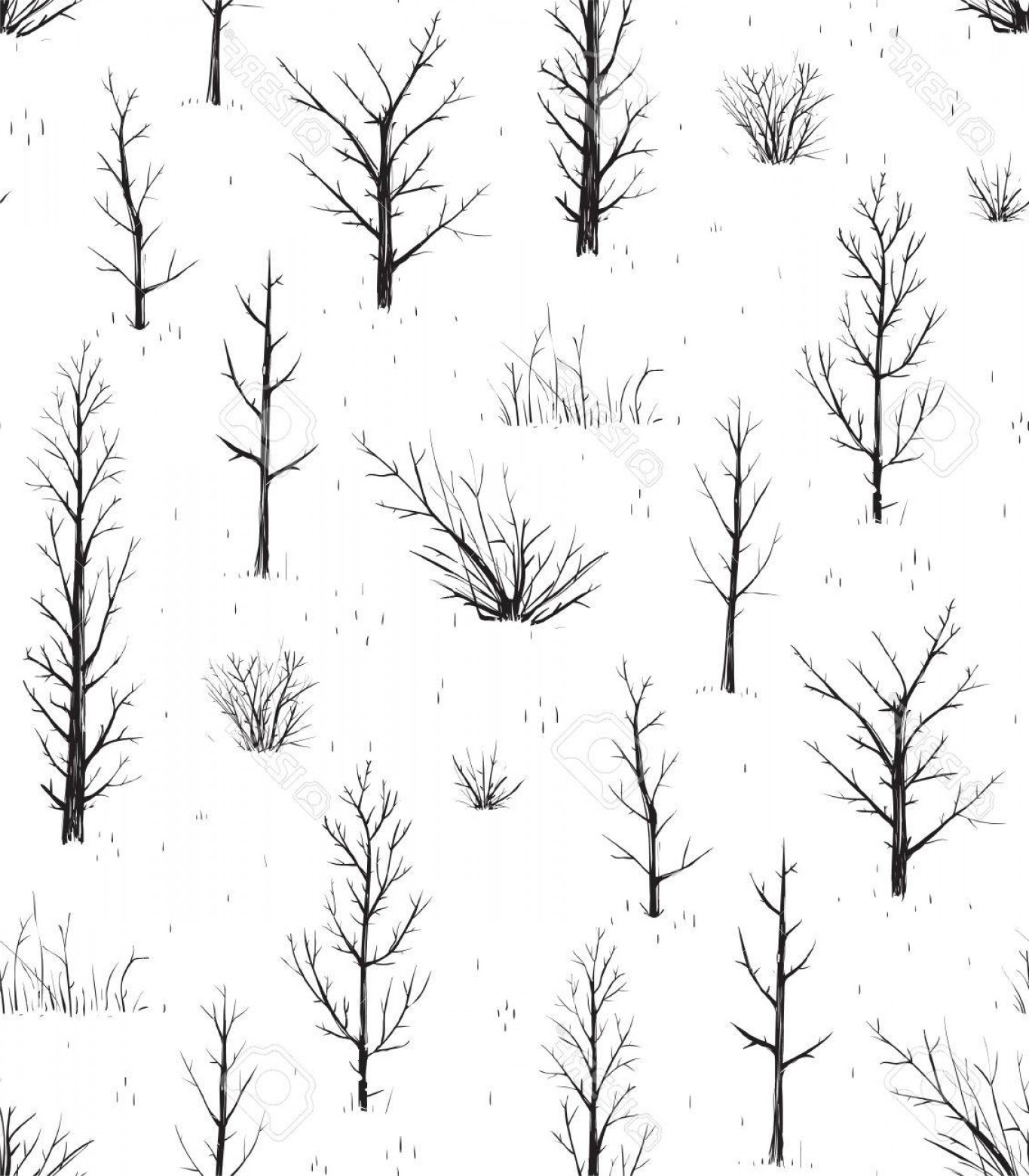 Scratch Y Drawing Vector: Photostock Vector Scratchy Trees Black Silhouettes Seamless Pattern Sketchy Background Of Freehand Trees Drawing Vecto