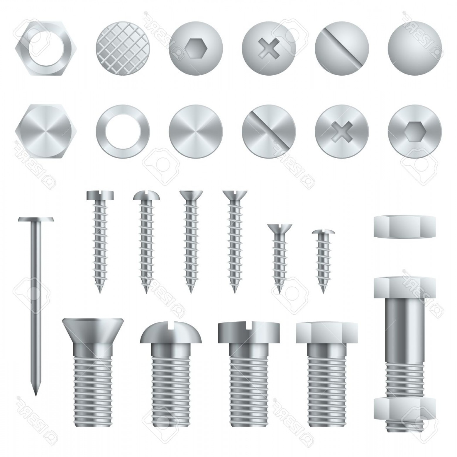 Fastener Vector: Photostock Vector Screws Bolts Nuts Nails And Rivets For Fastening And Fixing Vector Illustration Design Elements