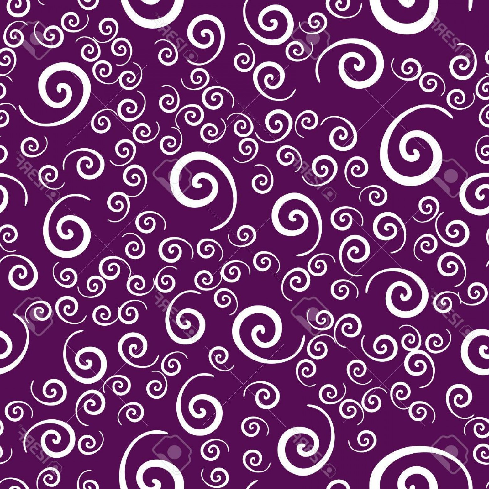Violet Swirl Design Vector: Photostock Vector Seamless All Over Vintage Childish Swirls Pattern In Violet Color