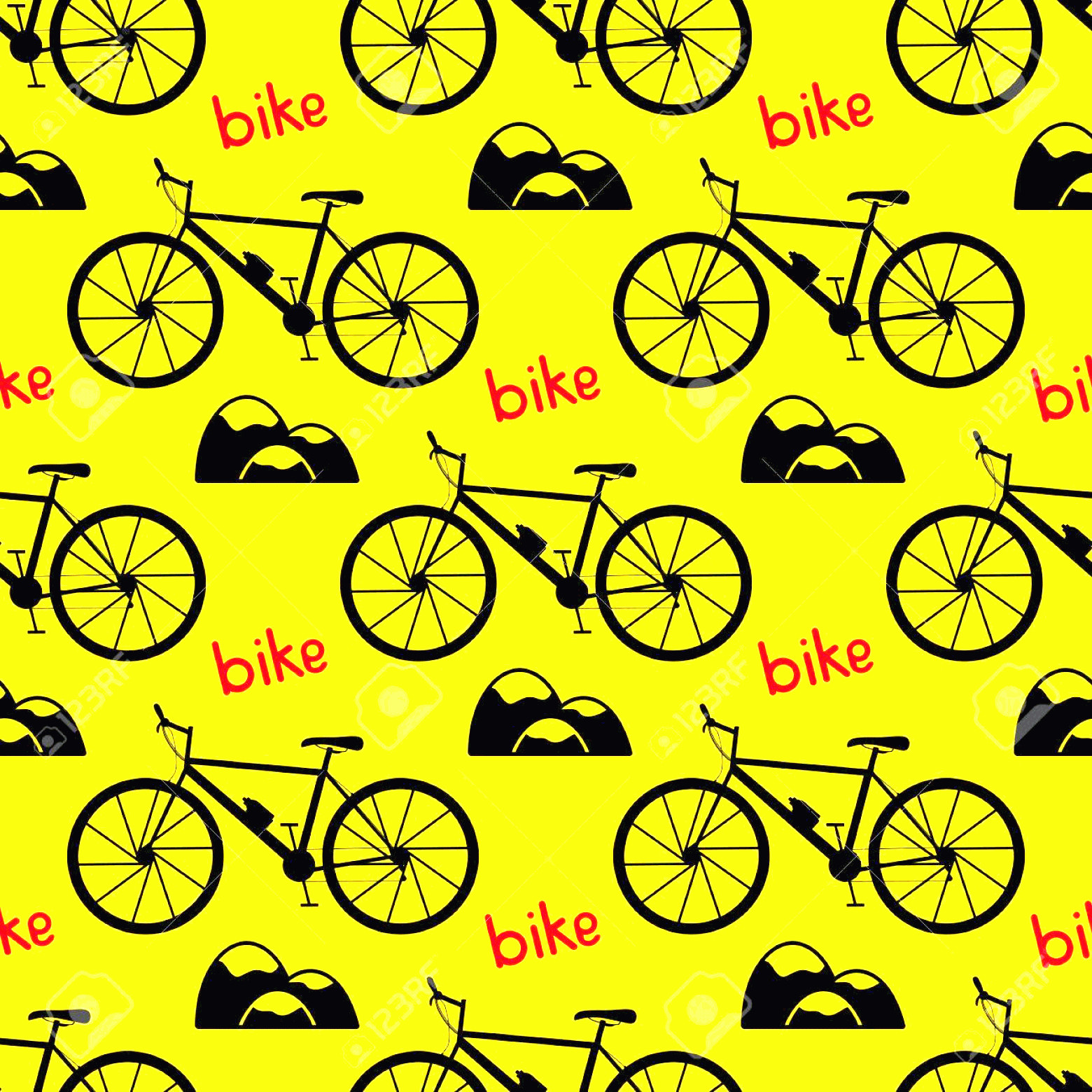 Bicycle Vector Artwork Of Patterns: Photostock Vector Seamless Bicycle Pattern Mountain Bike Vector Illustration