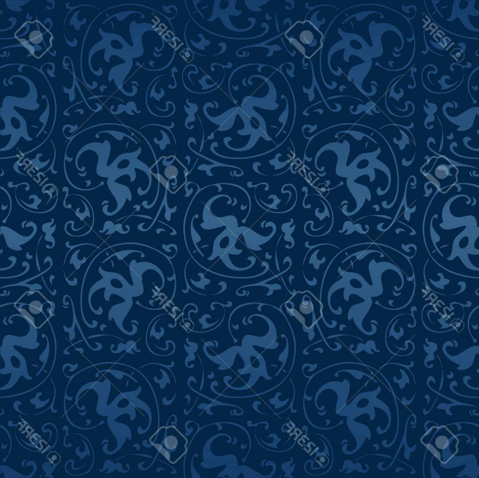 Vector Flourish Backgrounds: Photostock Vector Seamless Blue Vintage Sytle Flourish Vector Background