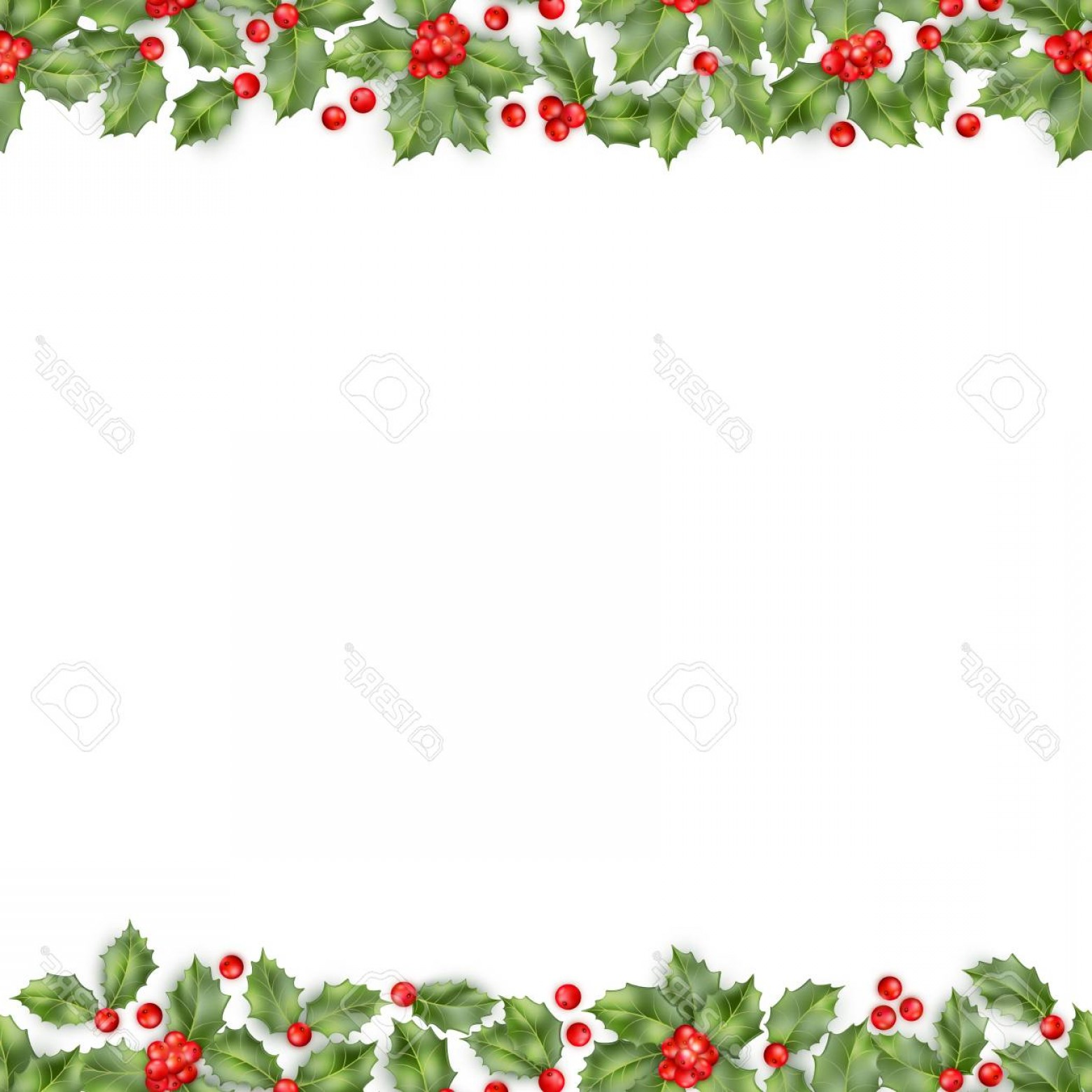 Holly Berry Vector Border: Photostock Vector Seamless Border From Christmas Holly Berry Eps Vector