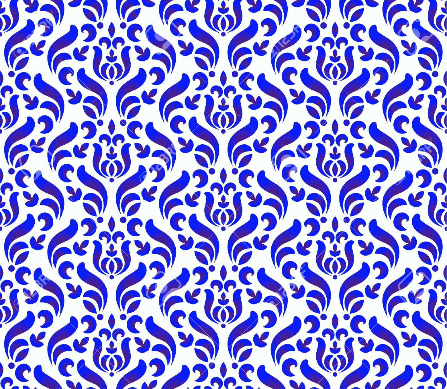 Blue And White Damask Vectors: Photostock Vector Seamless Damask Pattern Blue And White Wallpaper Classic Style Of Baroque Porcelain Floral Decorativ