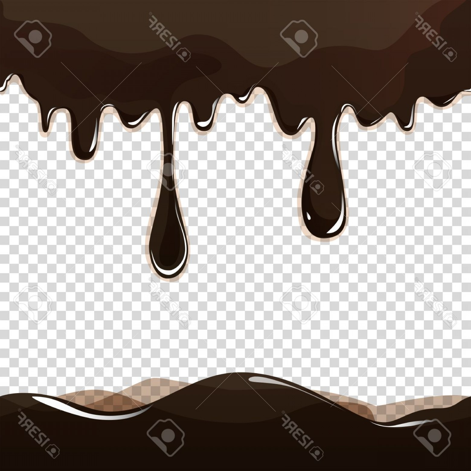 Transparent Brown Vector Background: Photostock Vector Seamless Flowing Melted Chocolate Dripping Isolated On Transparent Background Vector Eps