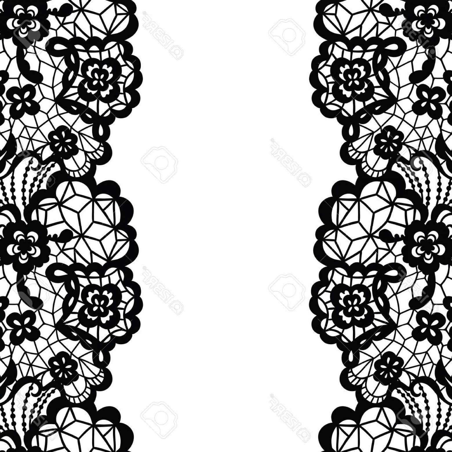 Floral Lace Trim Vector: Photostock Vector Seamless Lace Border Vector Illustration Black Lacy Vintage Elegant Trim