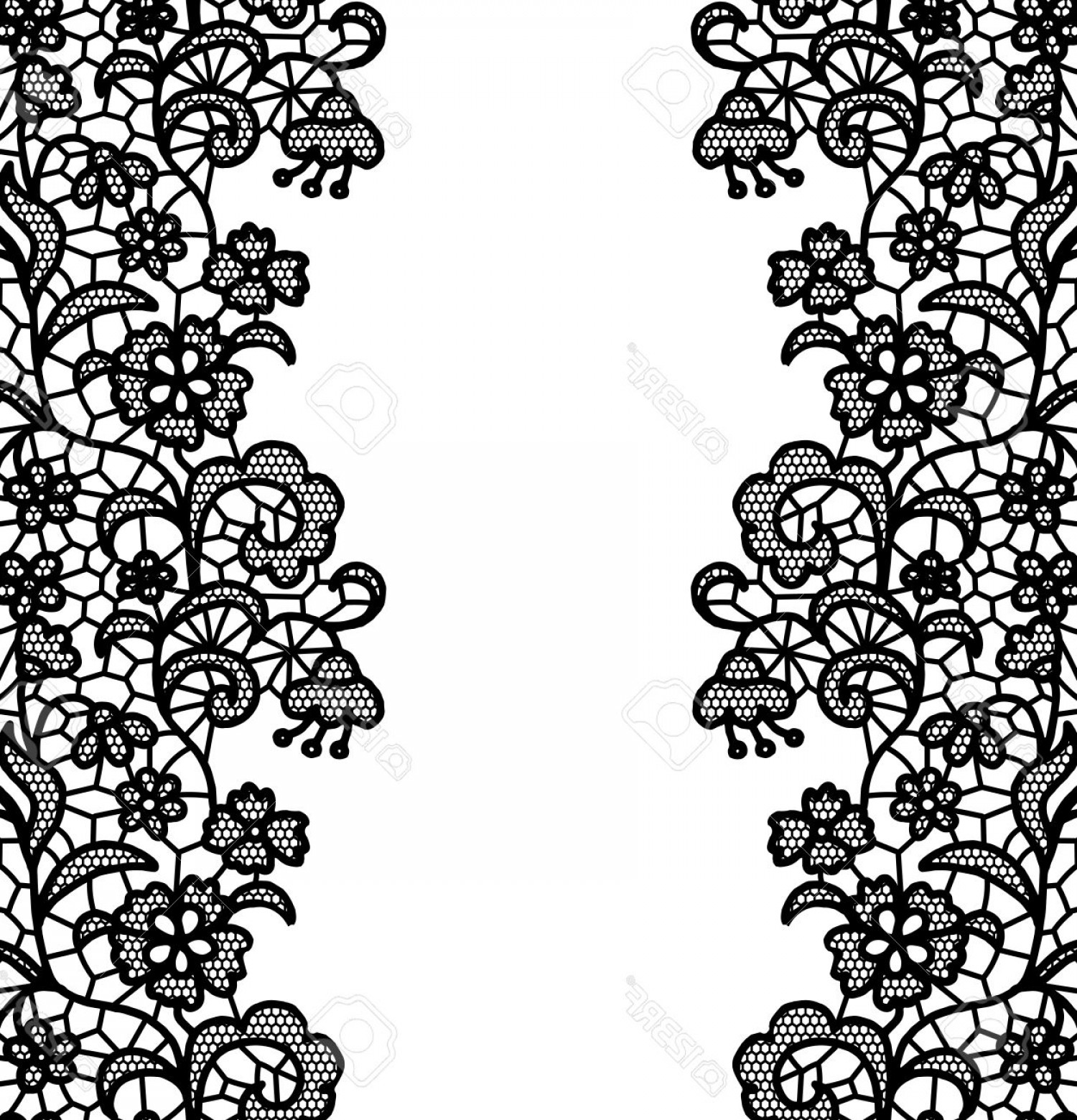Floral Lace Trim Vector: Photostock Vector Seamless Lace Border Vector Illustration White Lacy Vintage Elegant Trim