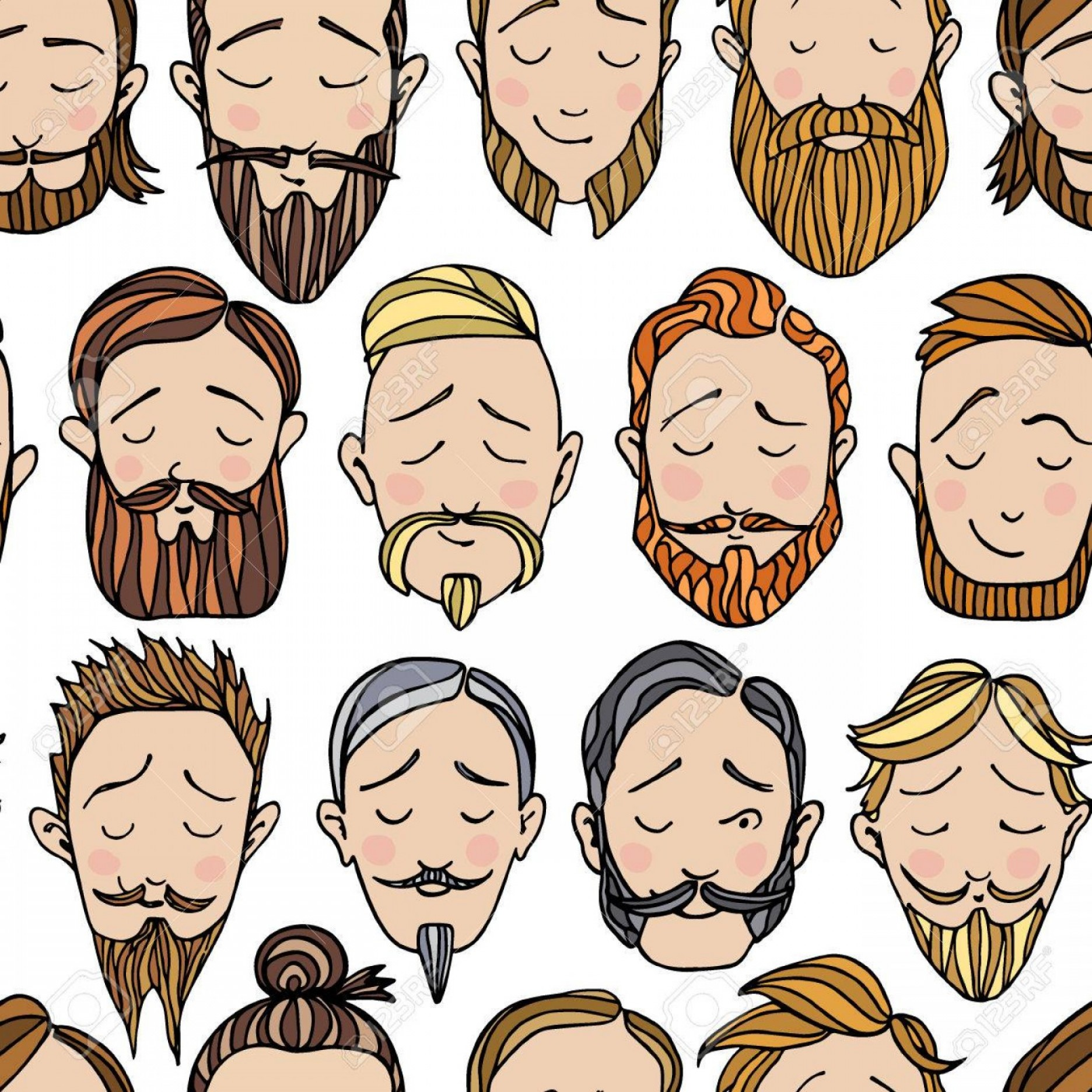 Vector Male Fade Hair: Photostock Vector Seamless Pattern With Beard Styles Illustrations Hand Drawn Cute Male Faces With Different Hair And