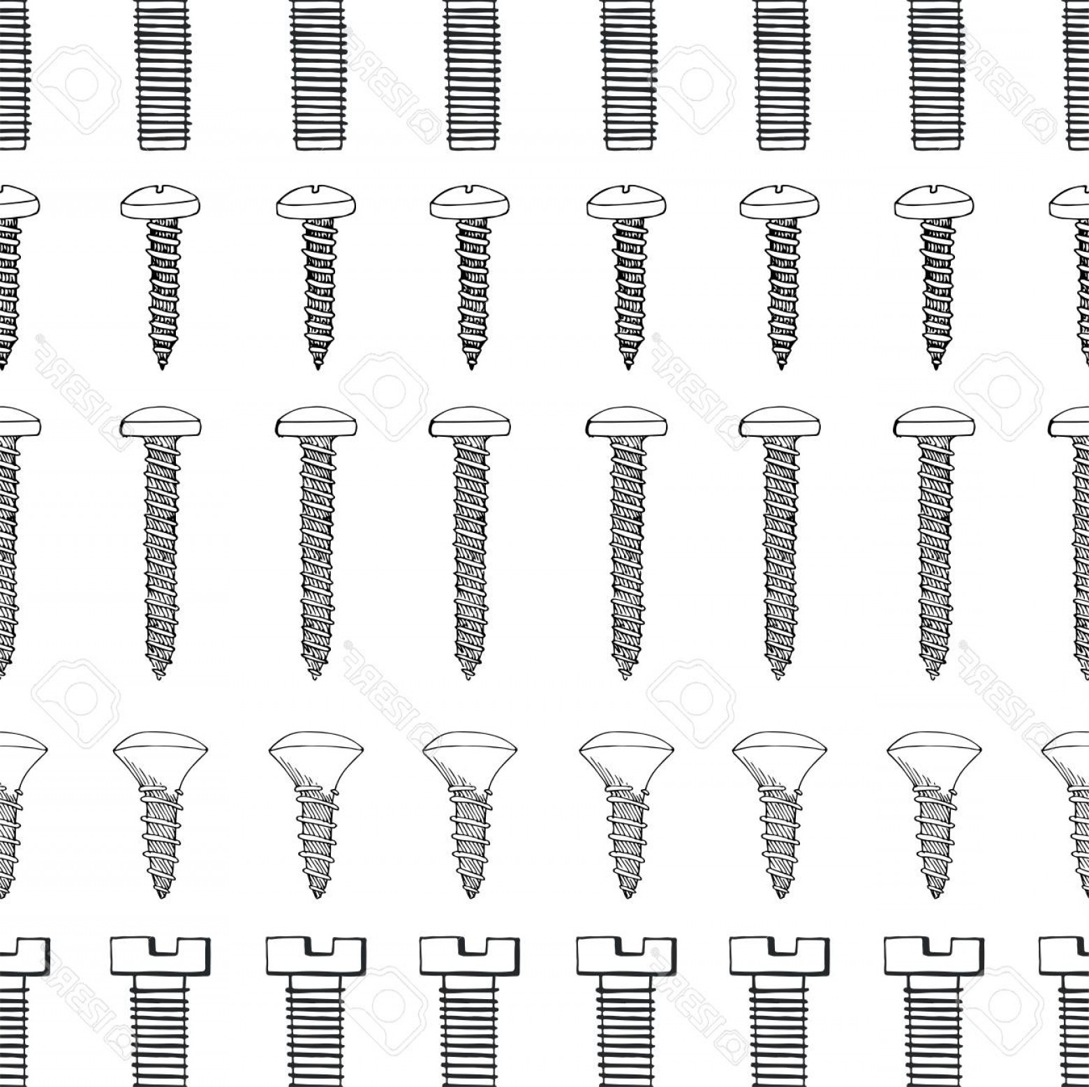 Fastener Vector: Photostock Vector Seamless Pattern With Different Tools Different Fastener On White Background Hand Drawn Vector Illus