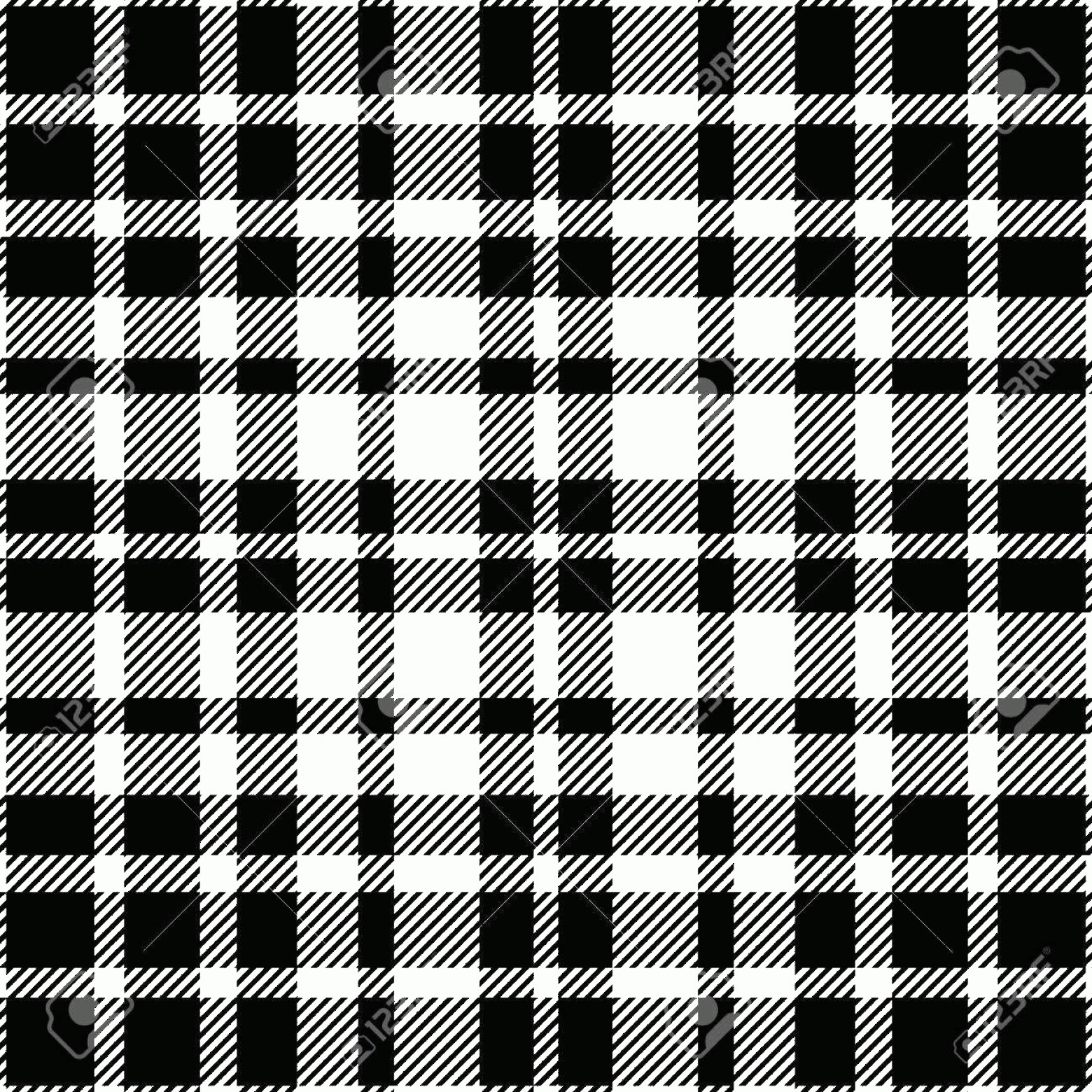 Plaid Vector: Photostock Vector Seamless Tartan Plaid Pattern In Black And White