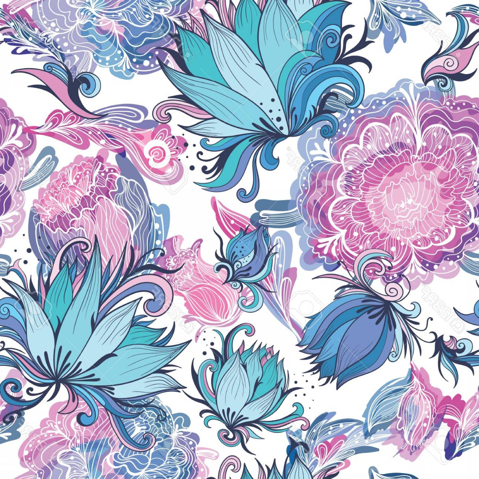 Turquoise Flower Vector: Photostock Vector Seamless Texture In Blue Pink Purple And Turquoise Colors With Lotus Lily And Peony Flowers
