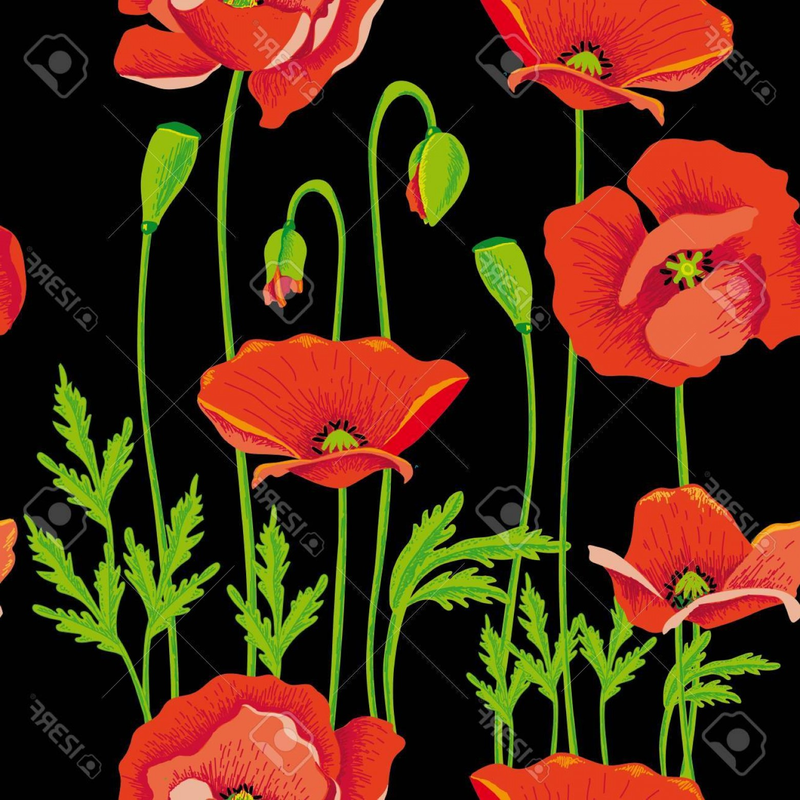 Vector Flower Band: Photostock Vector Seamless Vector Floral Band At Dark Paper Rich And Natural