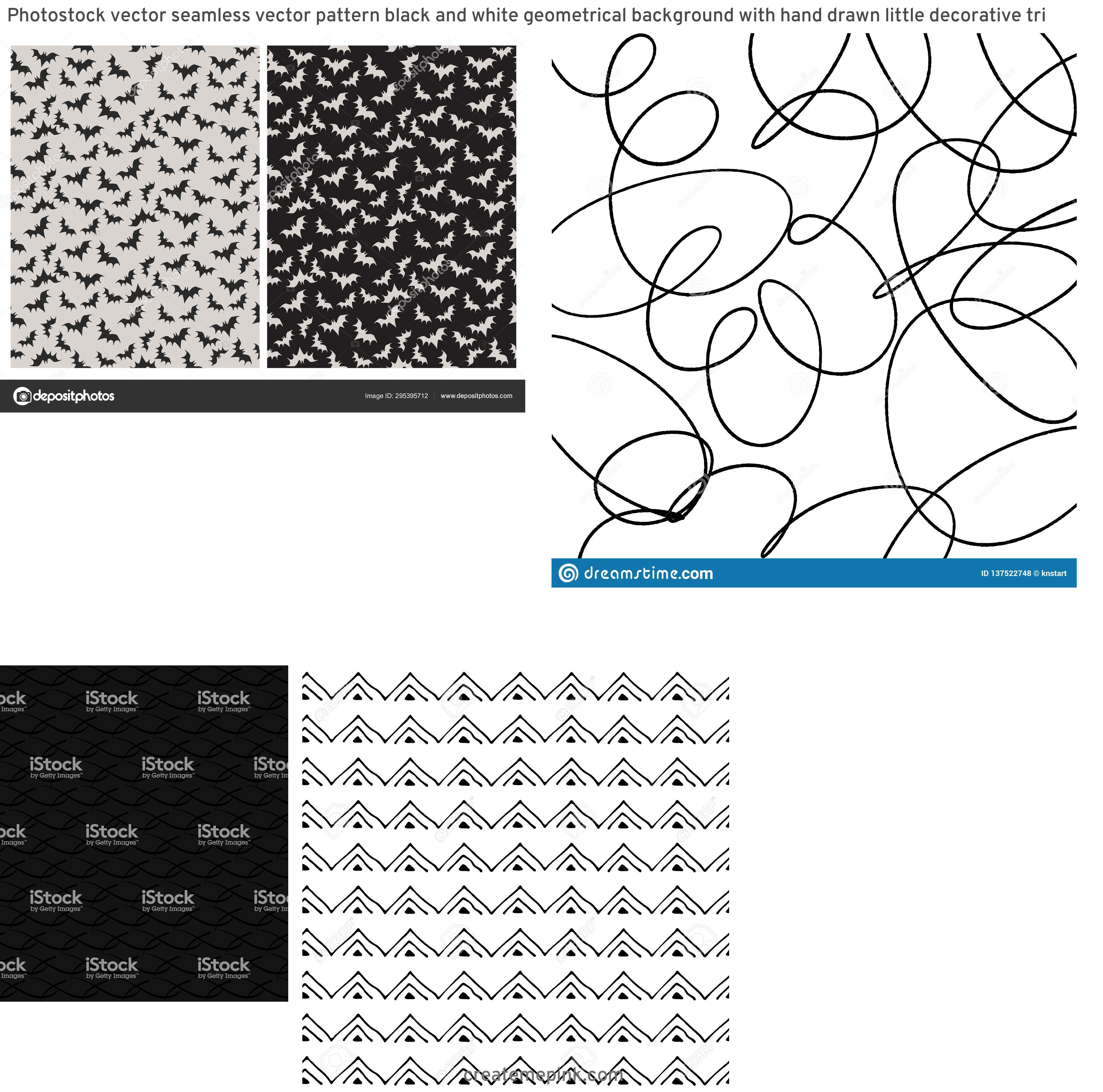 Simple Black Decorative Vector Patterns: Photostock Vector Seamless Vector Pattern Black And White Geometrical Background With Hand Drawn Little Decorative Tri