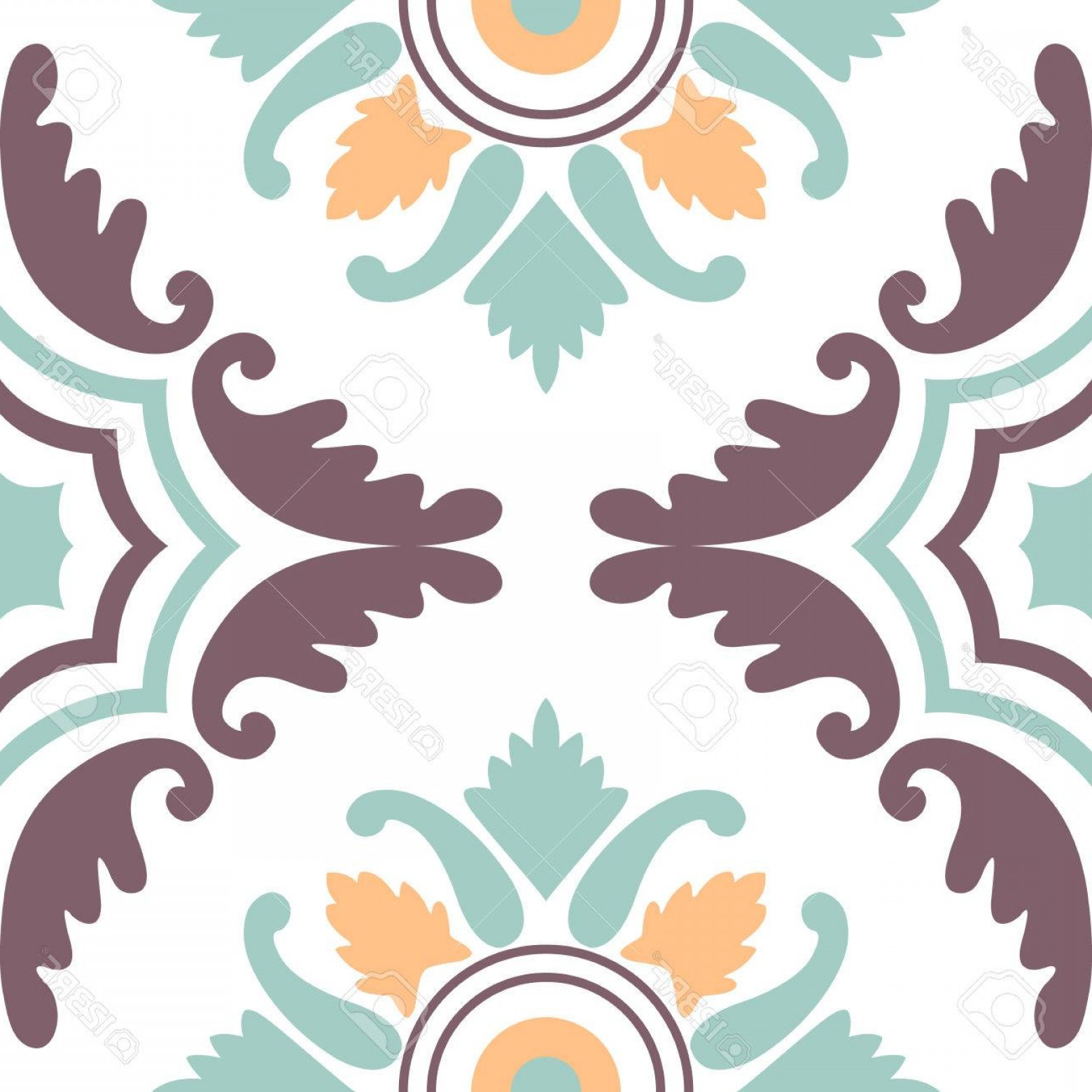 Aqua Victorian Vectors: Photostock Vector Seamless Vintage Background Victorian Tile In Vector