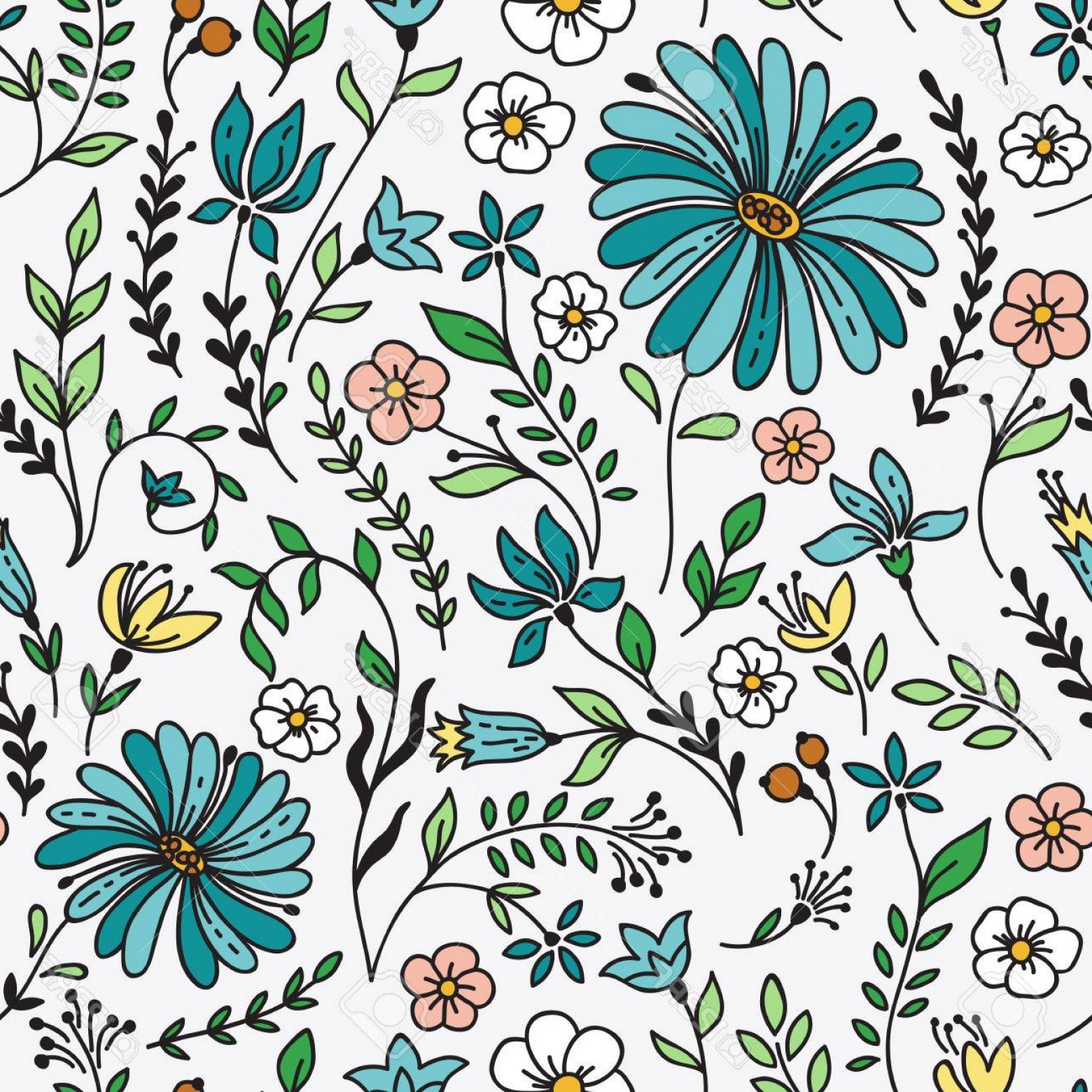 Free Vintage Vector Desktop Wallpaper: Photostock Vector Seamless Vintage Pattern With Camomile And Flowers Can Be Used For Desktop Wallpaper Or Frame For A