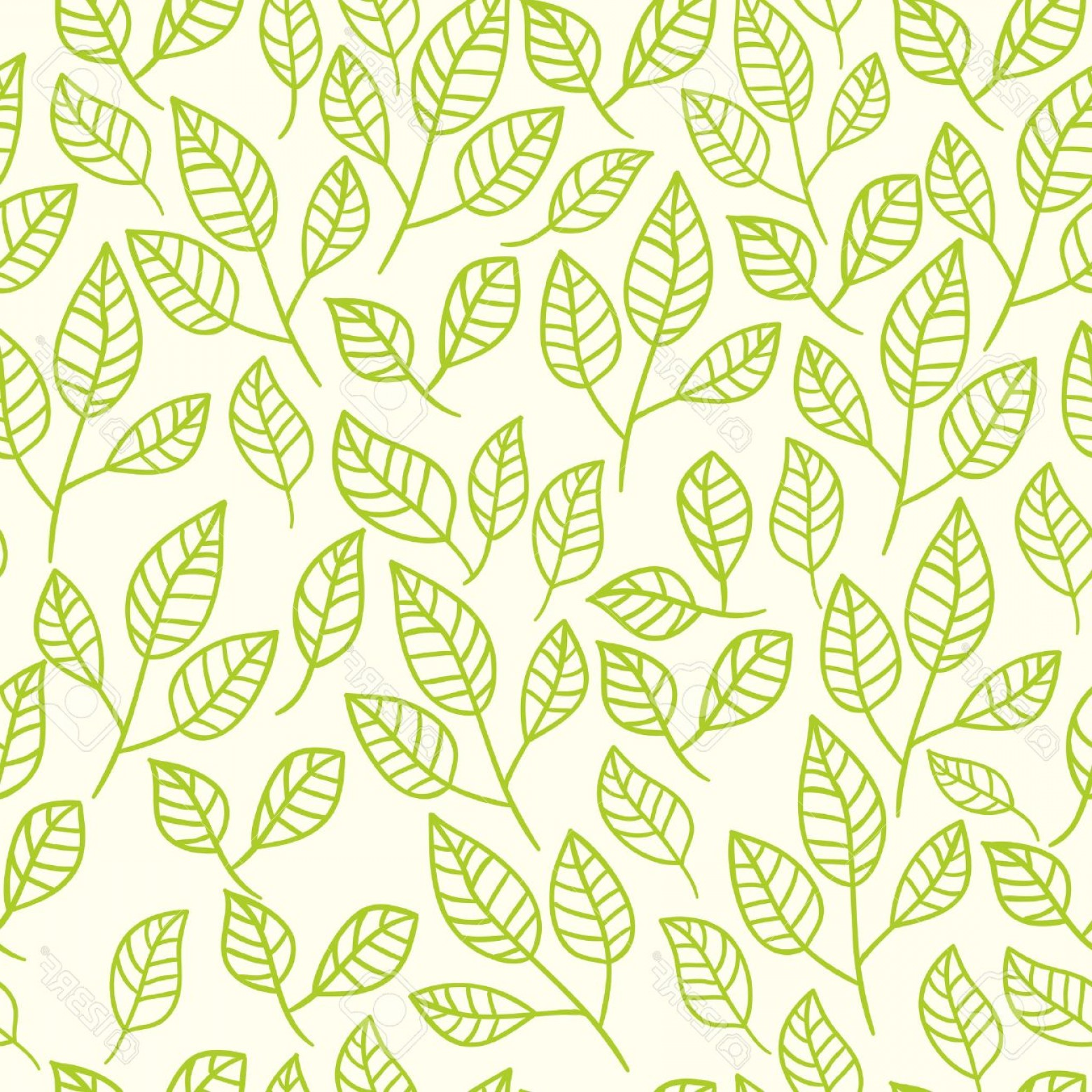 Leaf Background Vector: Photostock Vector Seamless Watercolor Background Of Green Leaves Pattern Composed Of Tea Leaves Vector Pattern
