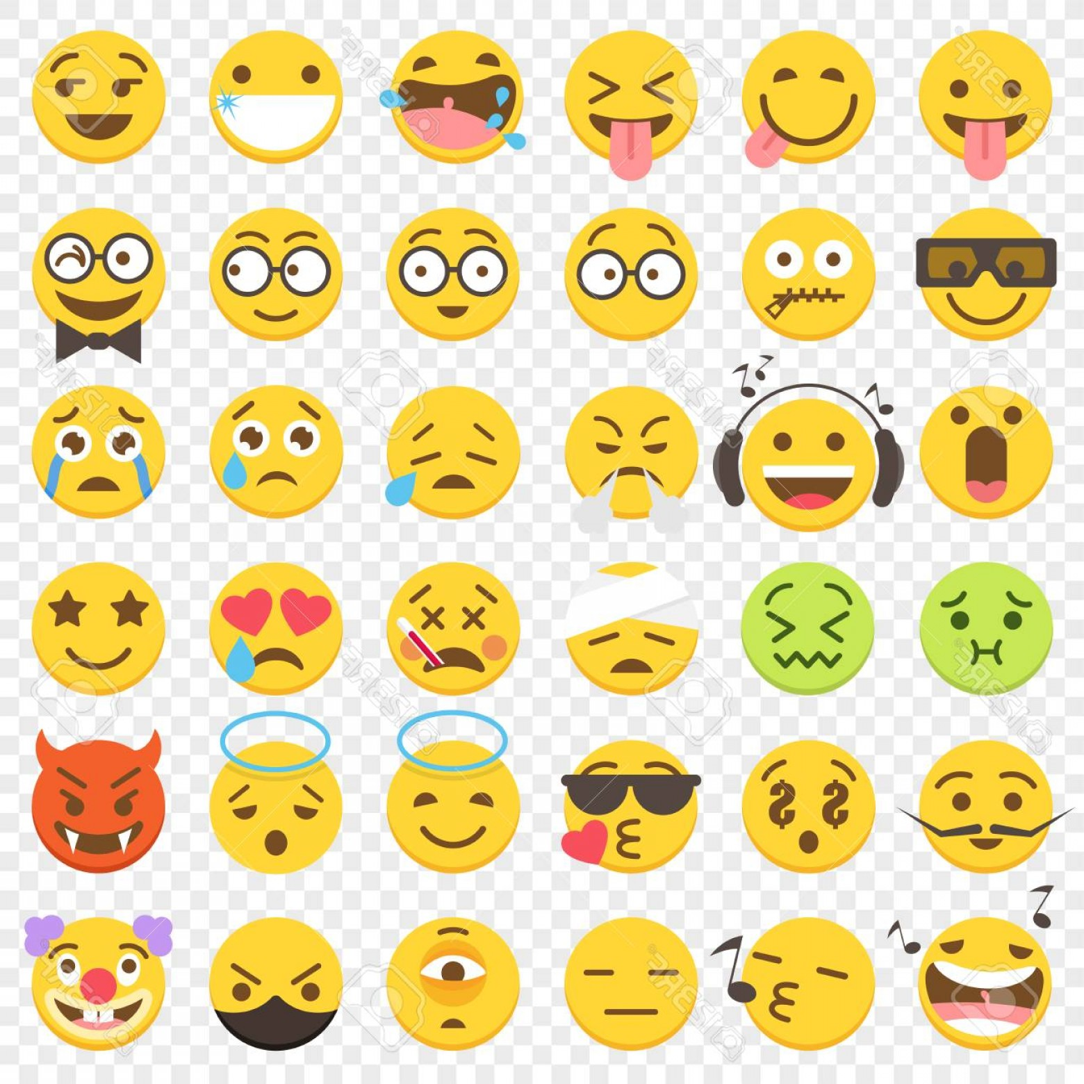 Popular Vector Emoji: Photostock Vector Second Big Set Of Emoji Popular Vector Illustrations In Flat Graphic Style