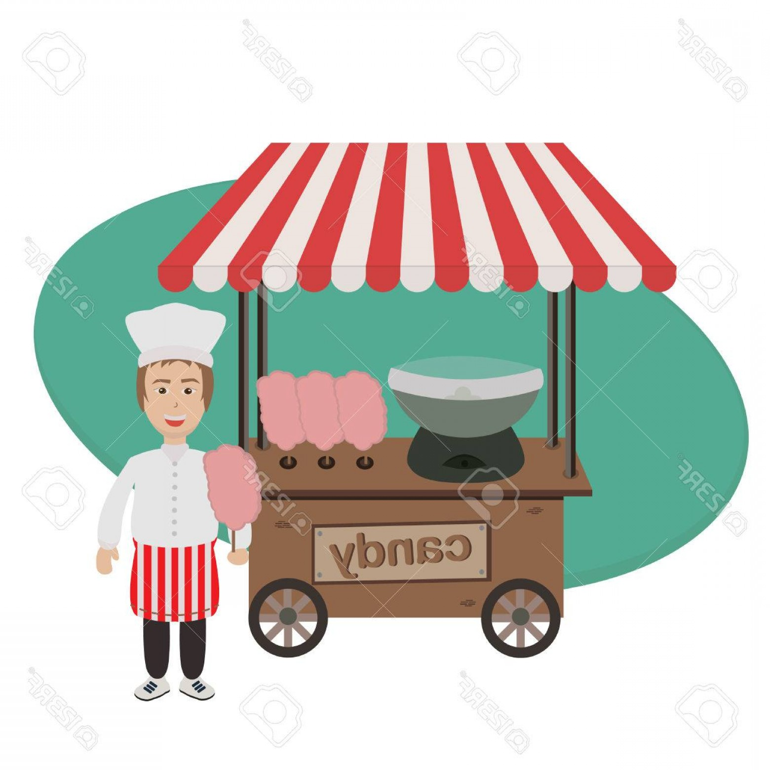 Candy Seller Vector: Photostock Vector Seller Of Cotton Candy And Trolley With Equipment For Cooking