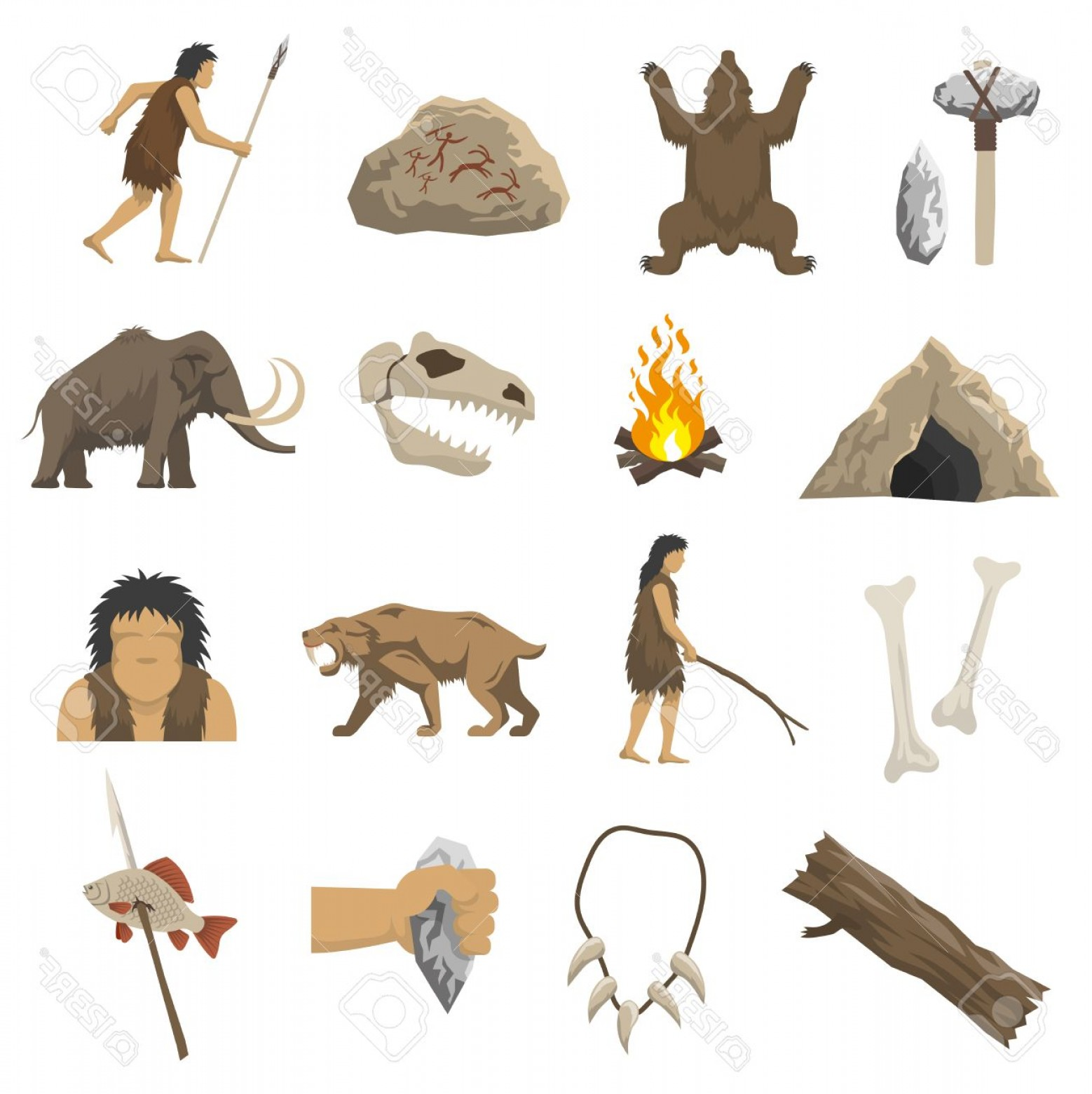 Cave Vector: Photostock Vector Set Color Icons With Elements Of Life In Stone Age Caveman Cave Bonfire Mammoth Bone Isolated Vector
