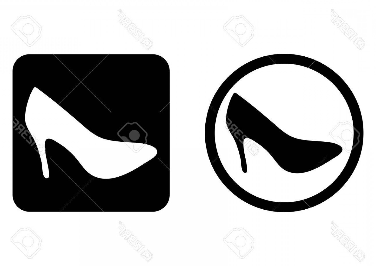 Silhouette Hee High Vector Lsitleetios: Photostock Vector Set Flat Button Icon Shoes Stilettos High Heels Two Flat Element Round Square Black White Isolated A