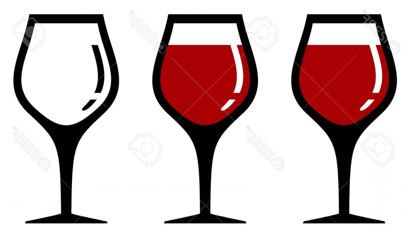 Single Wine Glass Silhouette Vector: Photostock Vector Set Isolated Wine Glasses With One Empty