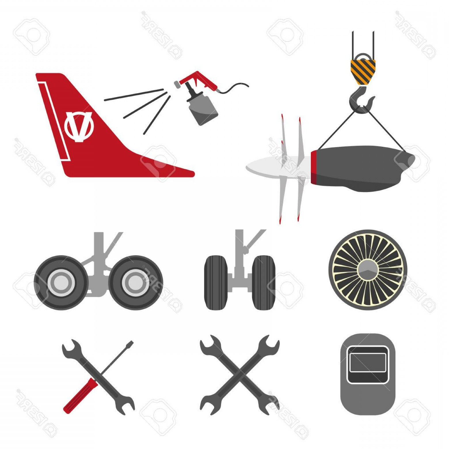 Model Planes Parts Vector: Photostock Vector Set Of Aircraft Parts On White Background Flat Vector Icons Set Aircraft Repair Vector Illustration