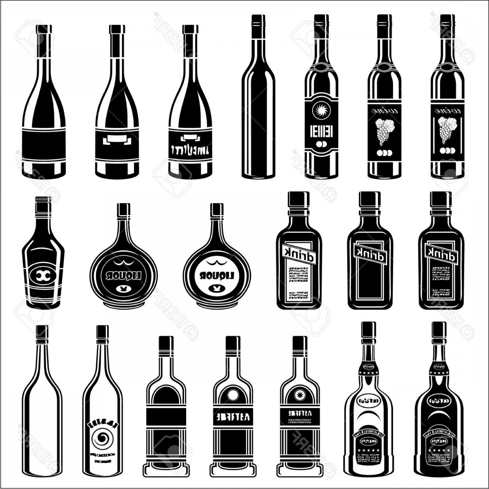 Booze Bottle Vector: Photostock Vector Set Of Alcohol Bottles Vector Illustration