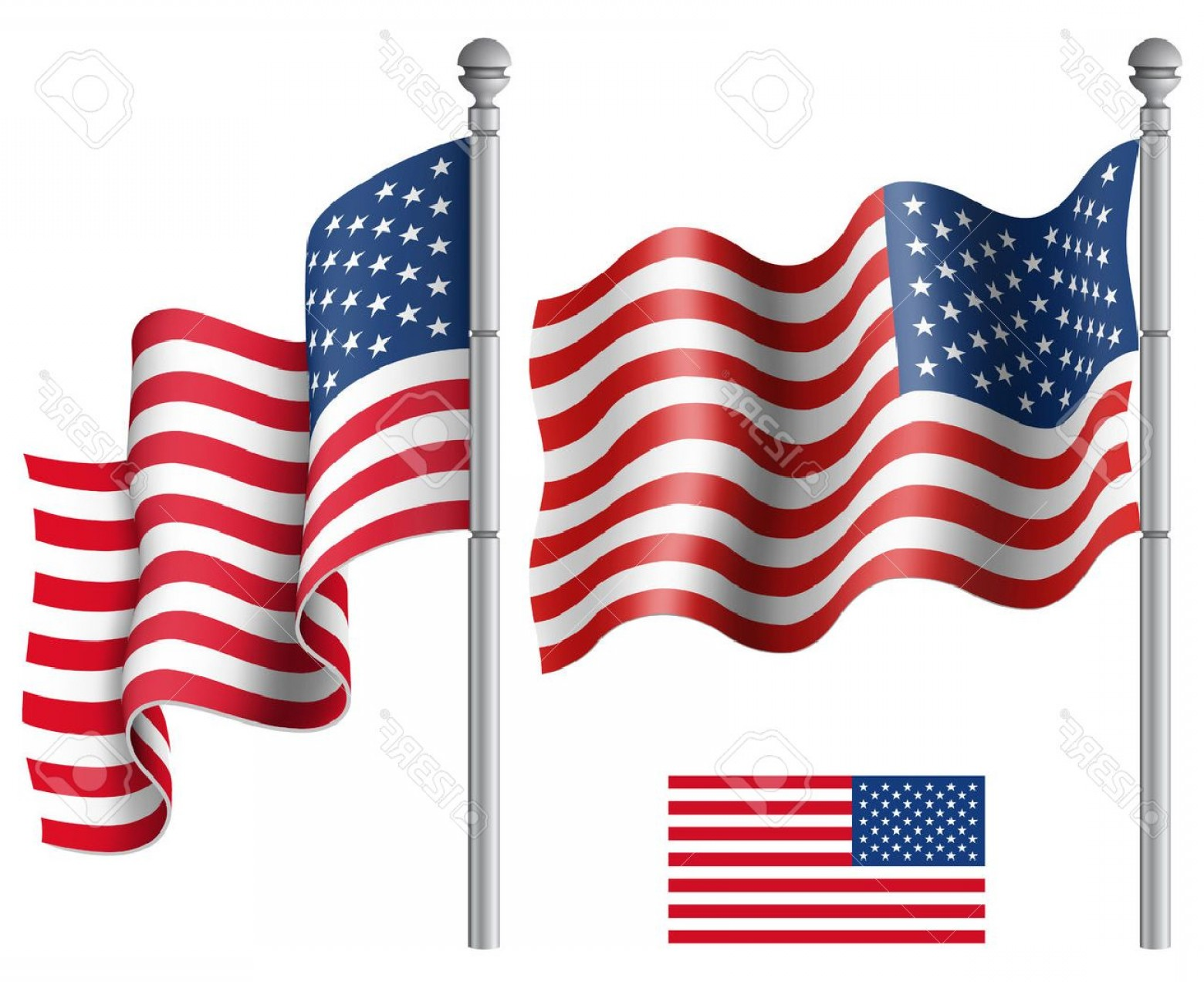 American Flag On Pole Vector: Photostock Vector Set Of American Flags With The Flagpole Vector Illustration Saved In Eps File With Transparencies