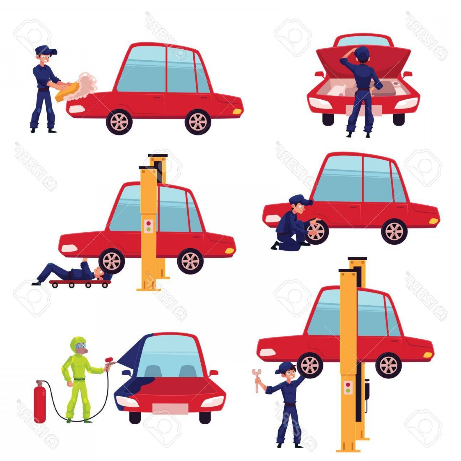 Fixing Car Vector: Photostock Vector Set Of Auto Mechanic Car Service Worker Technician Fixing A Car Cartoon Vector Illustration Isolated