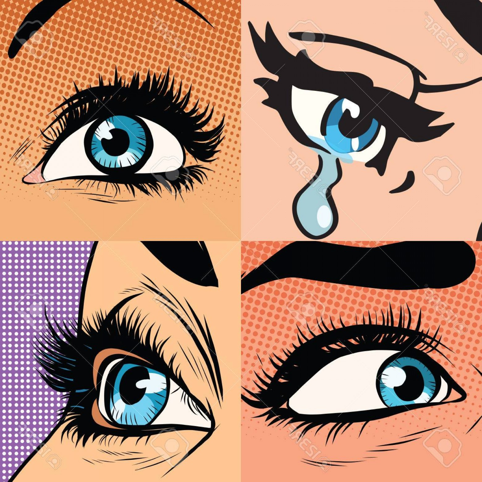 Vector Illustration Eyes Makeup: Photostock Vector Set Of Beautiful Woman Eye Makeup And Beauty Pop Art Retro Vector Illustration